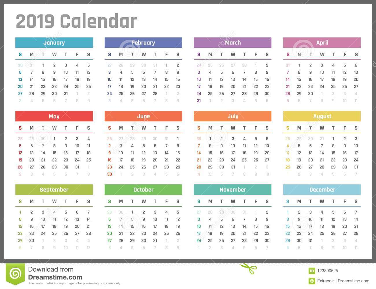 Calendar For 2019 Starts Sunday, Vector Calendar Design ...