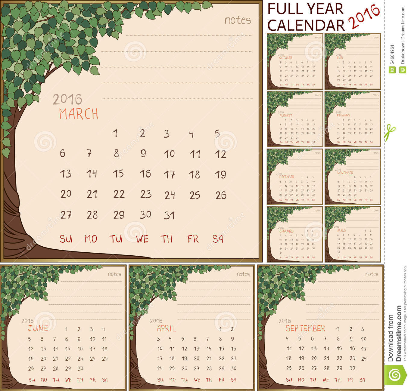 2016 year full calendar, separate pages for each of 12 month in frame ...