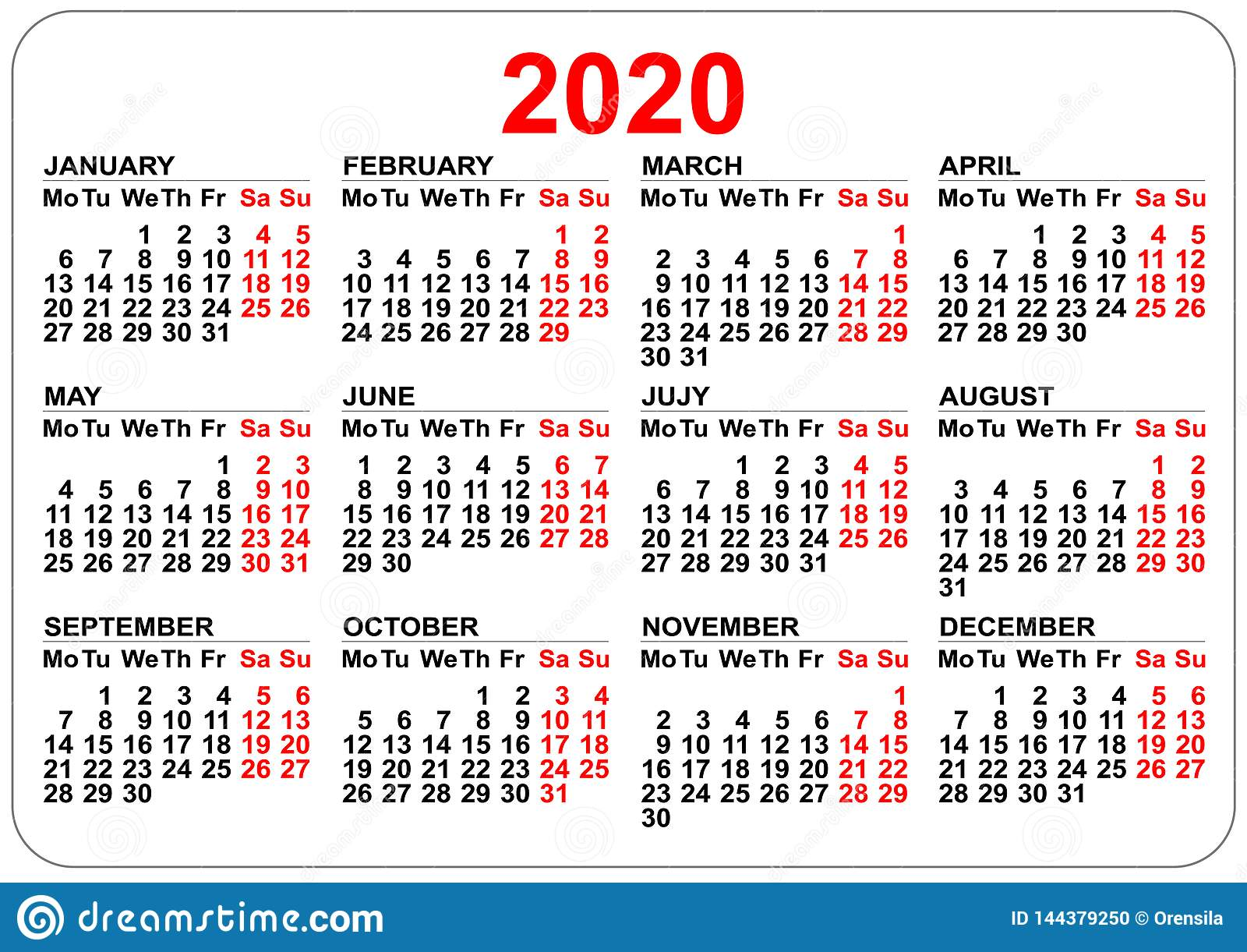 2020 year calendar grid. Numbers isolated on white