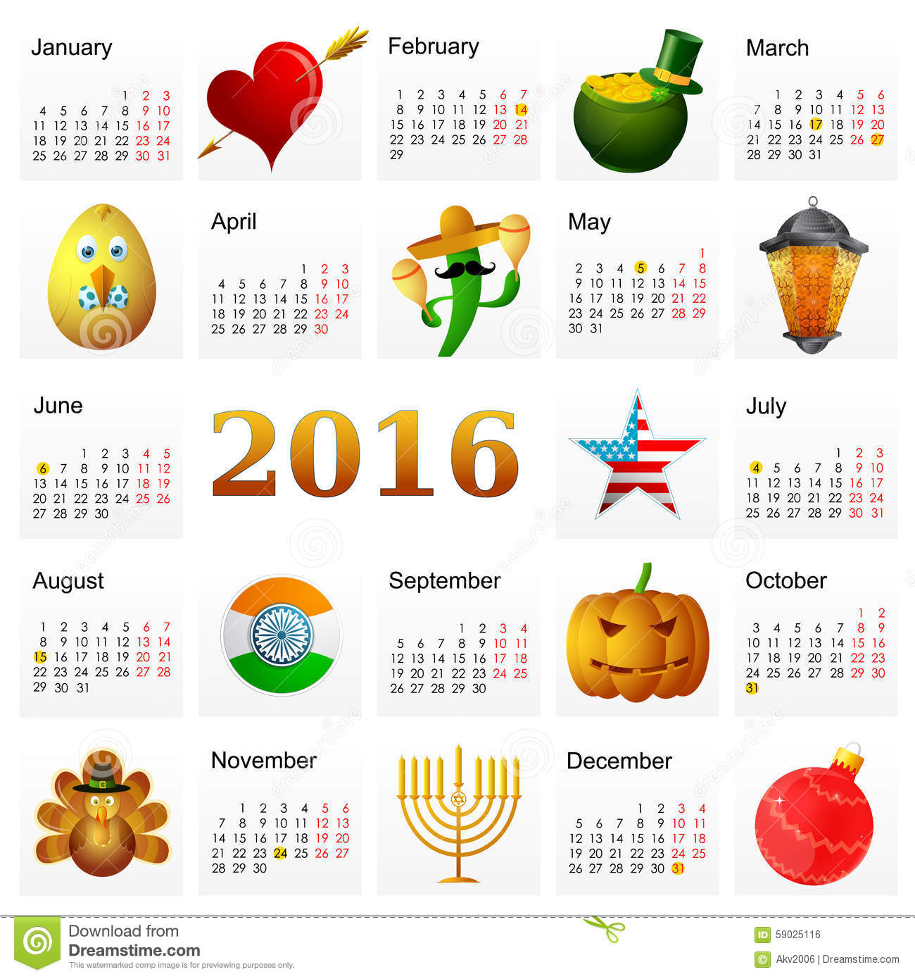Year 2016 Calendar With Holiday Symbols Stock Vector