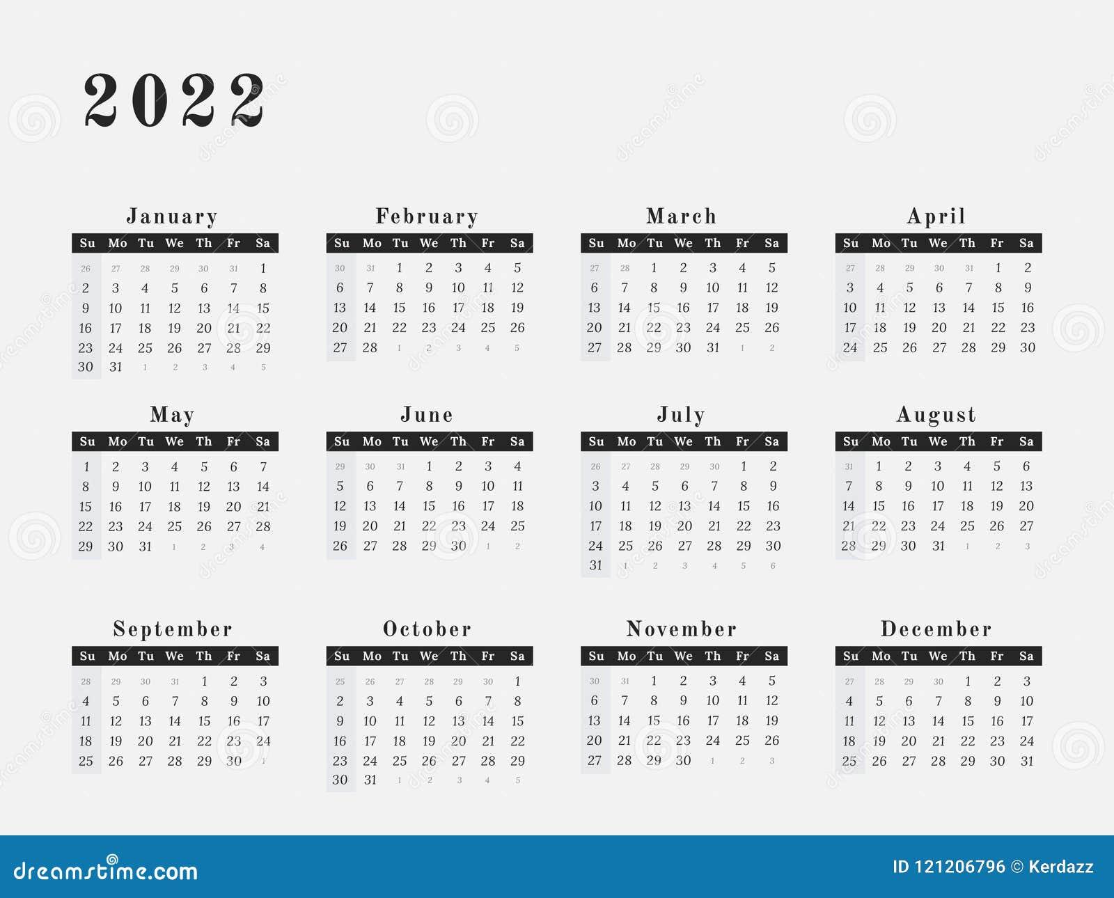 Calendar Year 2022.2022 Year Calendar Horizontal Design Stock Vector Illustration Of Monthly Number 121206796