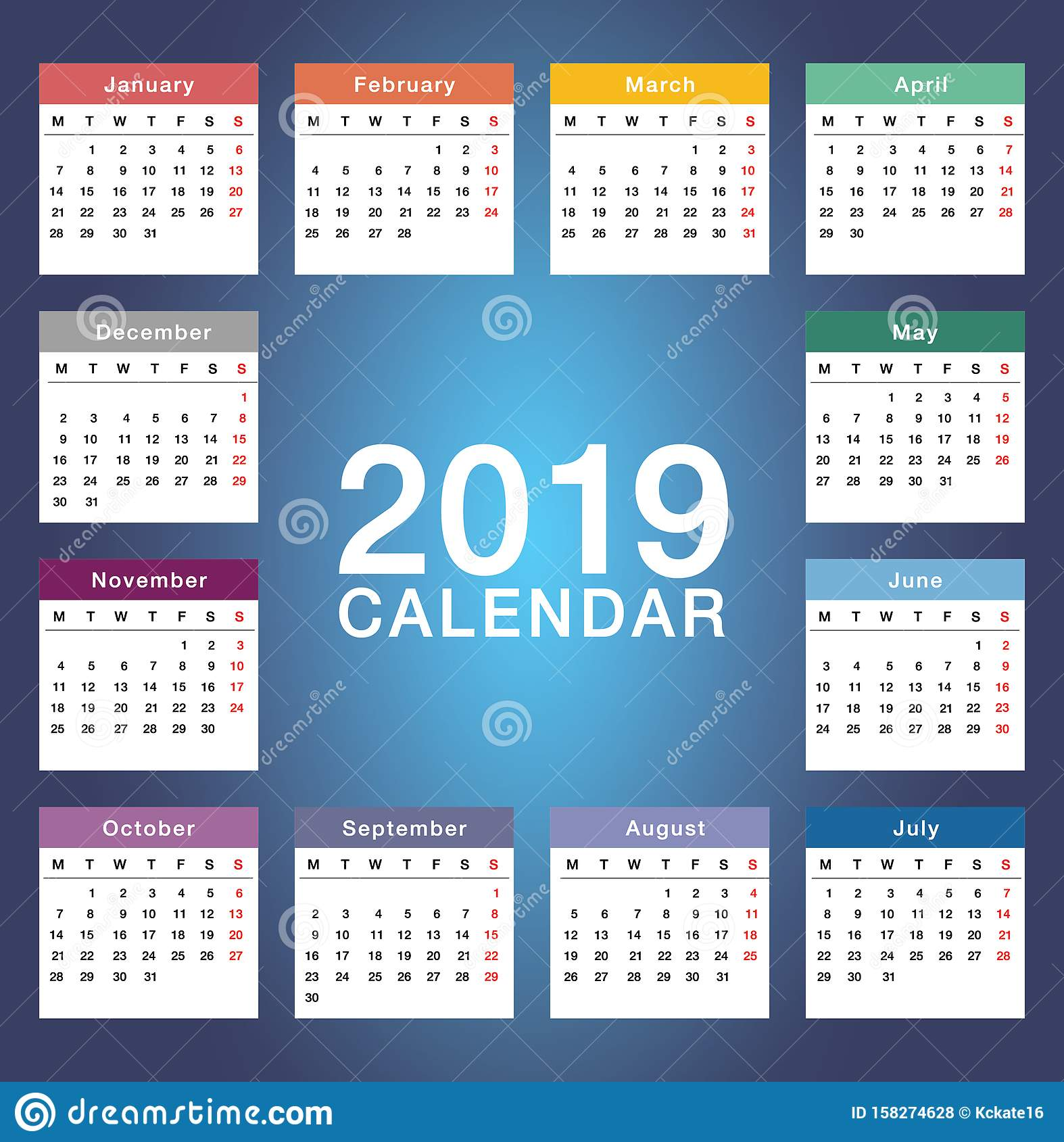 Year 2019 calendar horizontal vector design template, simple and clean design. Calendar for 2019 on White Background for organizat