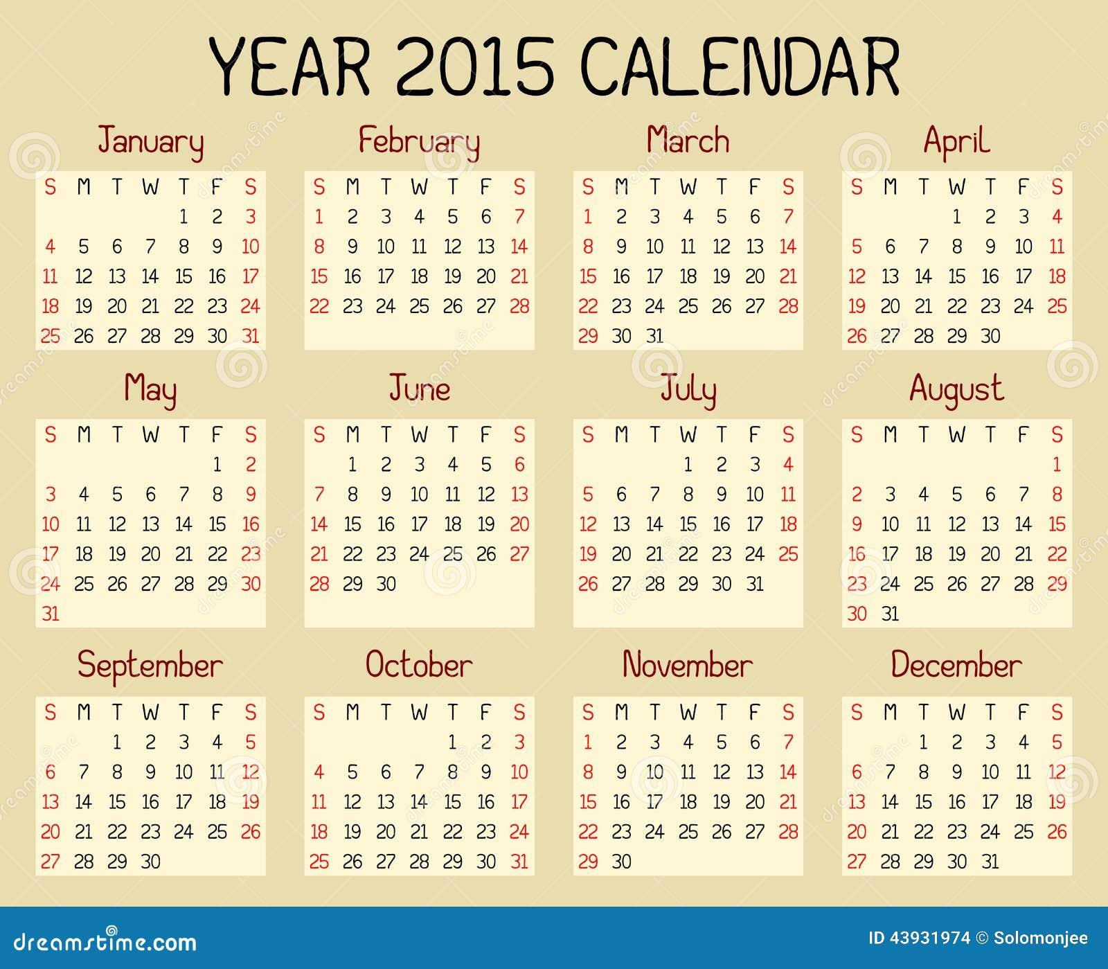 Year 2015 Calendar Stock Vector