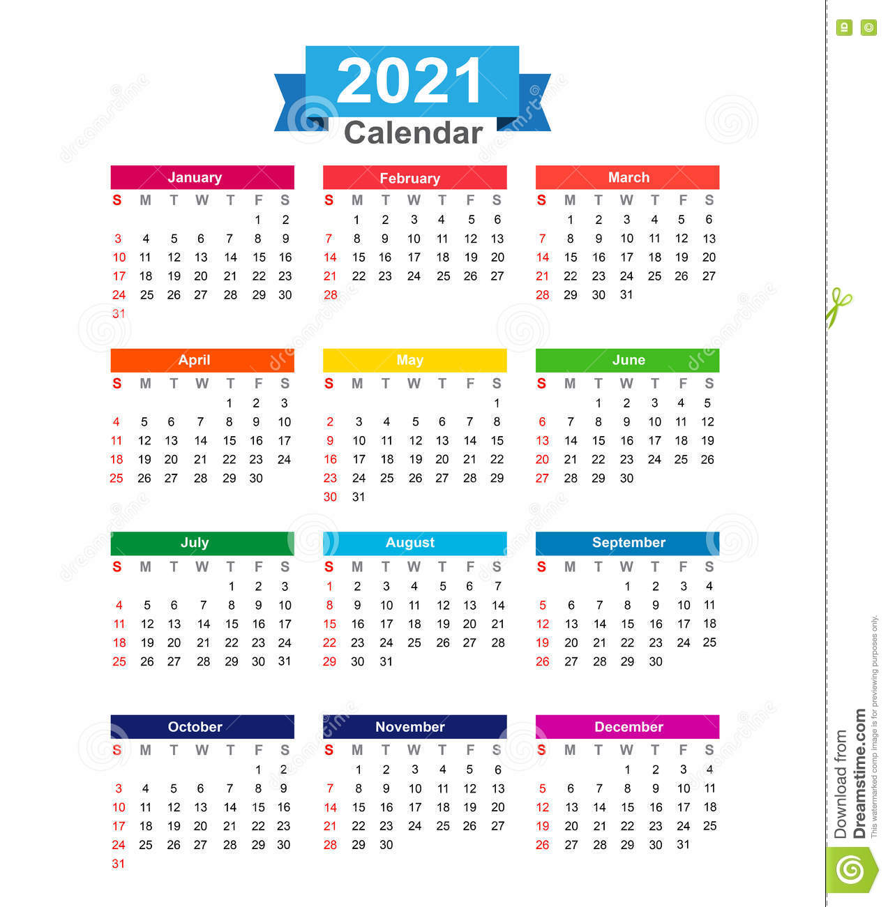 2021 Year Calendar Isolated On White Background Illustra Stock ...