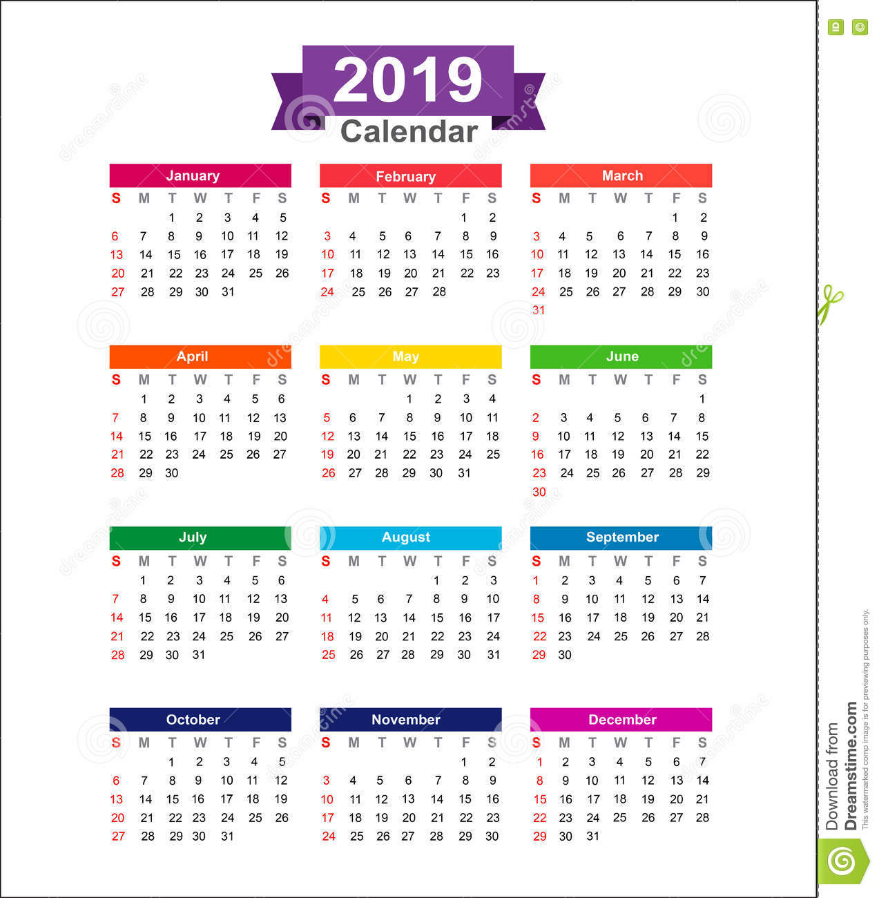 Calendar Illustration Free : Year calendar isolated on white background vector