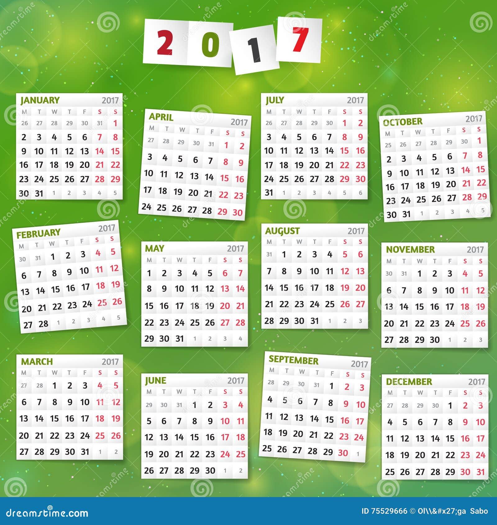 Calendar Green : Year calendar on joyful green background stock