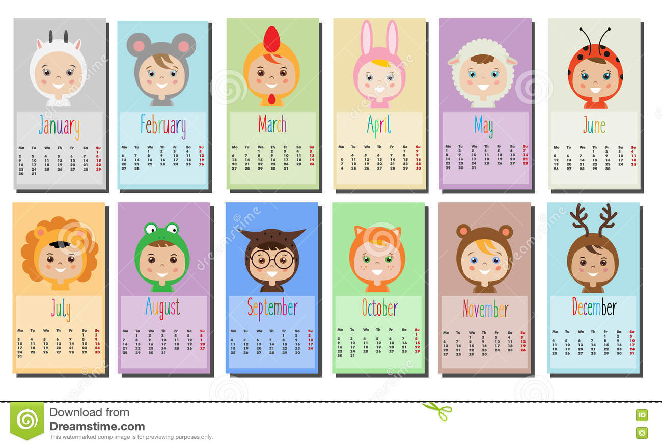 Kids Calendar Design : Year calendar with kids in party outfit children