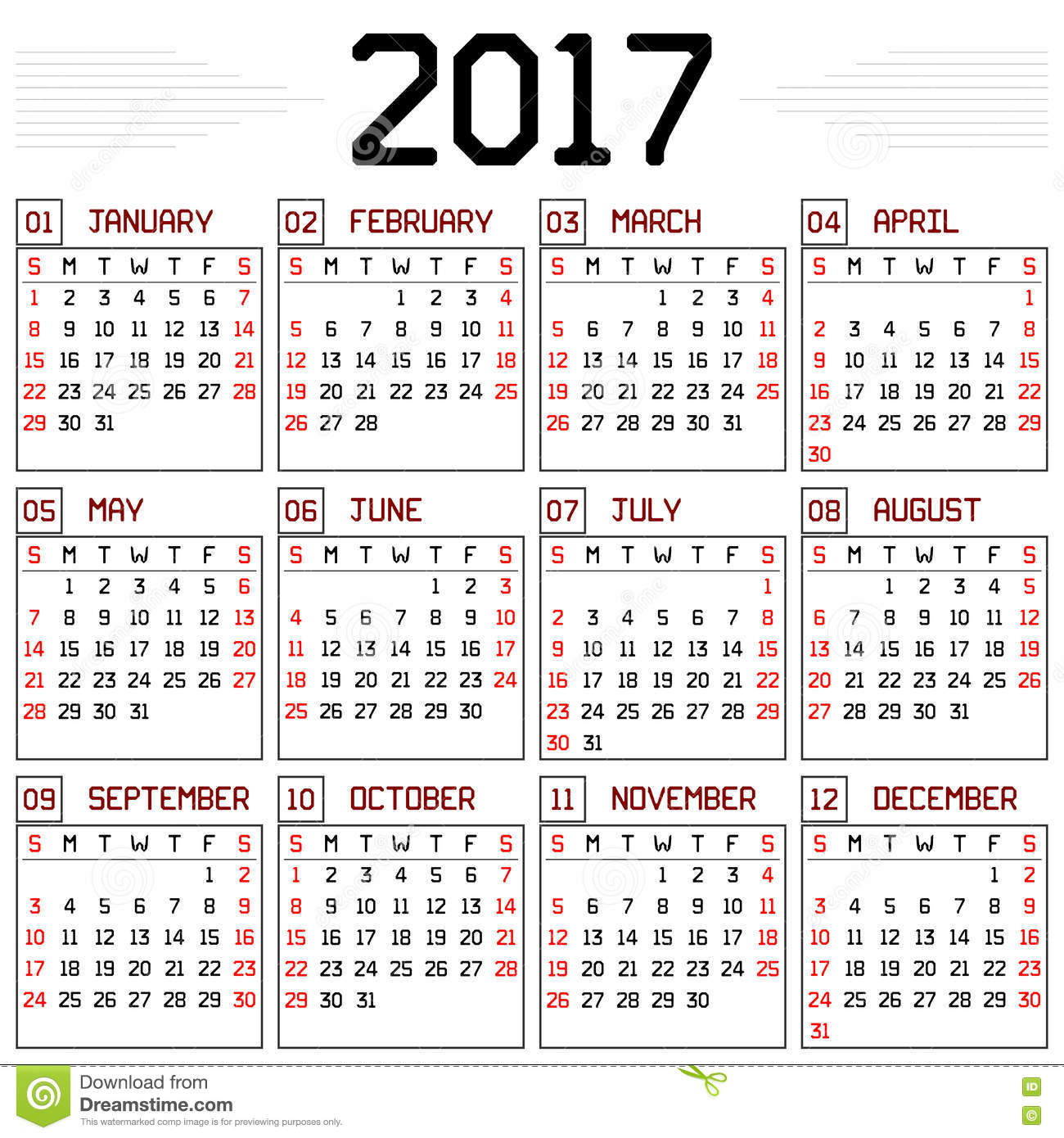 monthly calendar for the year 2017 on white. A custom straight lines ...