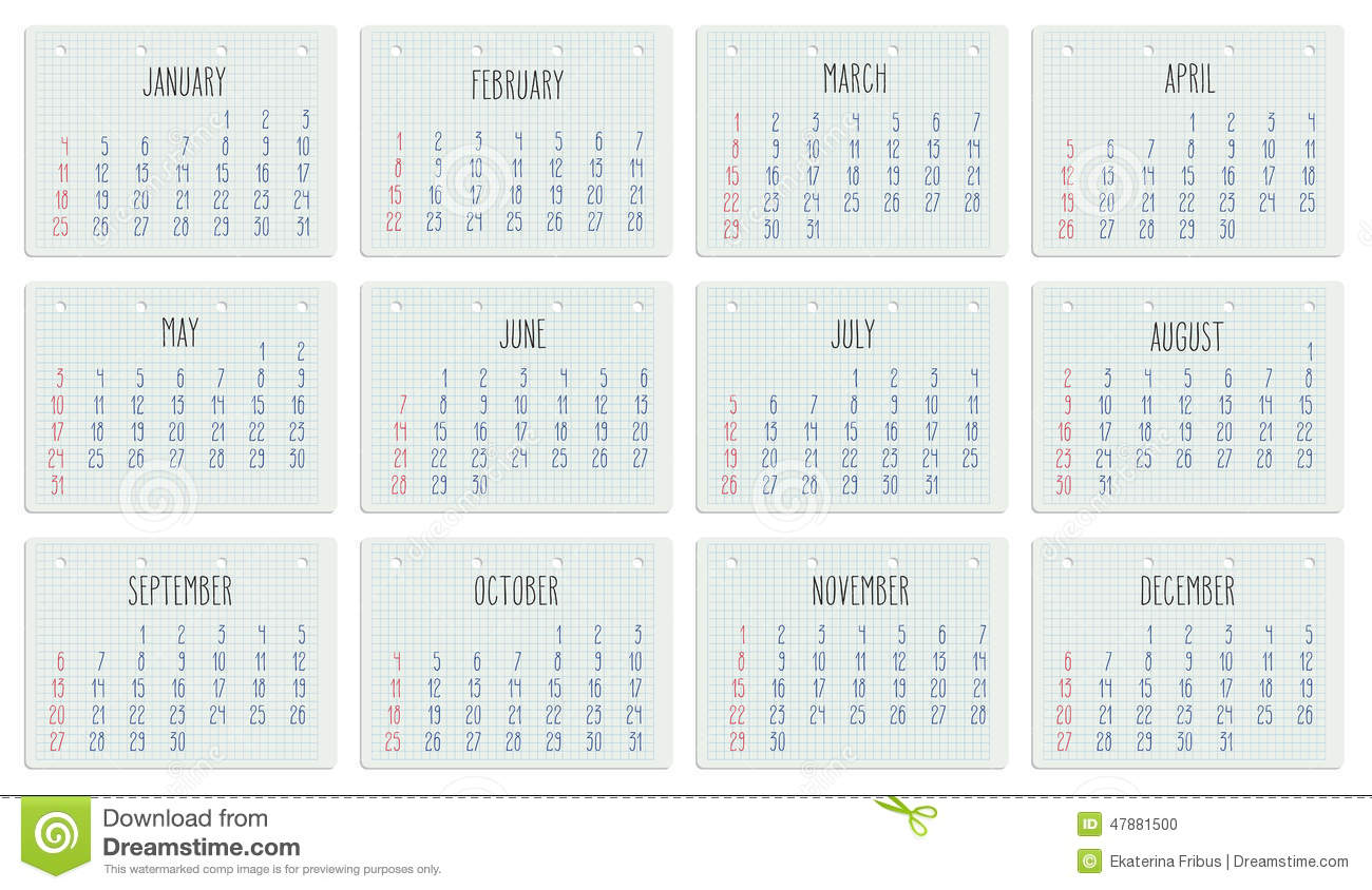 Monthly Calendar Notebook : Year calendar on notebook page stock vector image