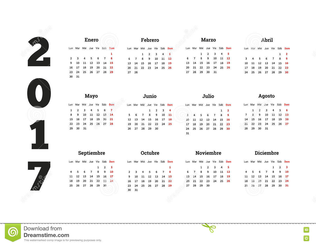 2017 Year Calendar In Spanish, Isolated On White Stock ...
