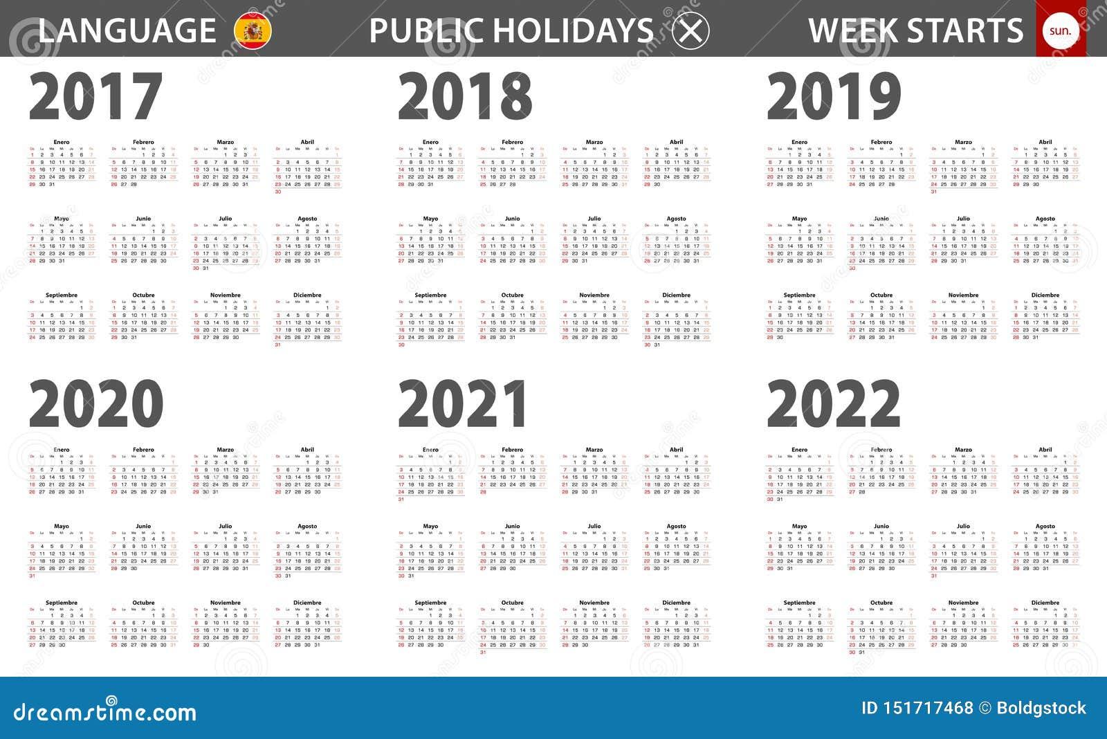 Spanish Calendar 2022.2017 2022 Year Calendar In Spanish Language Week Starts From Sunday Stock Vector Illustration Of 2021 Planner 151717468