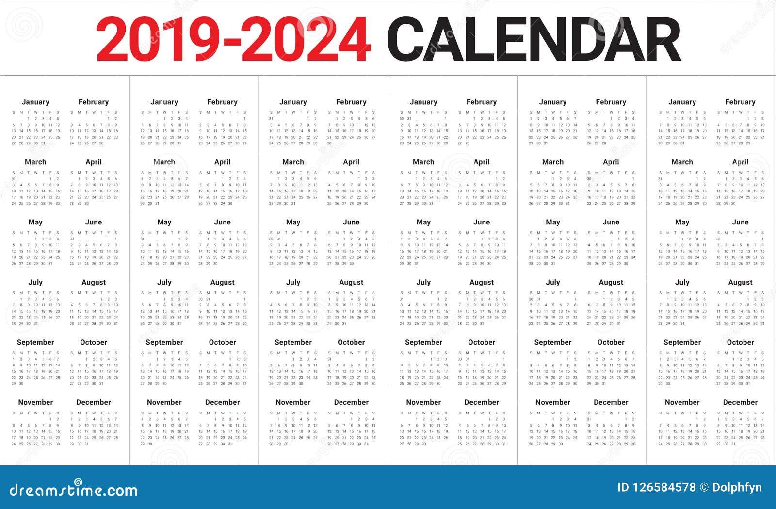 Ramadan Calendar 2022.Year 2019 2020 2021 2022 2023 2024 Calendar Vector Design Templa Stock Vector Illustration Of Monthly Date 126584578