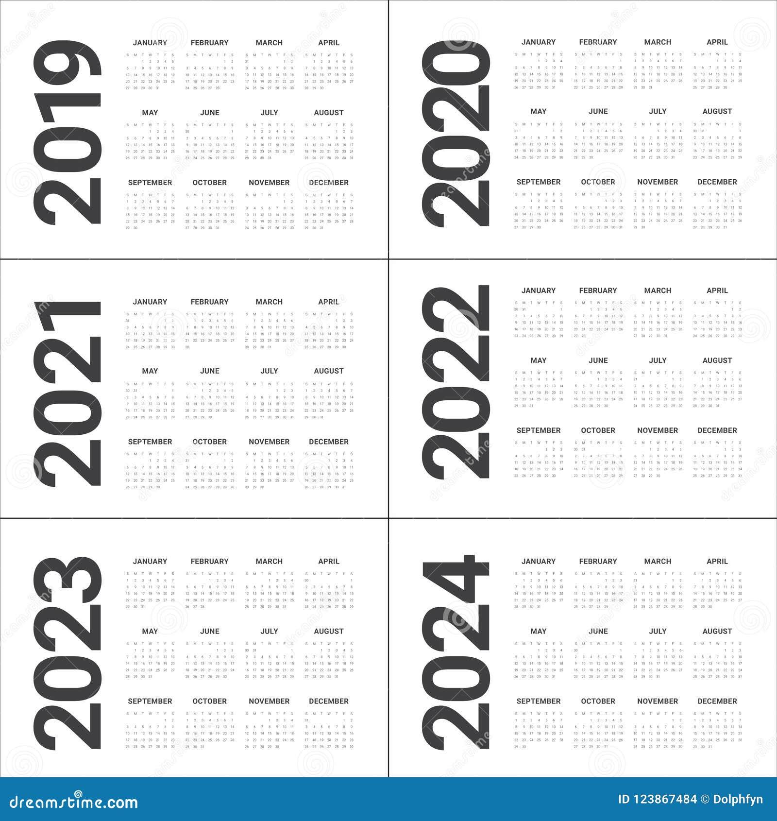 Printable Calendar 2022 2023.Year 2019 2020 2021 2022 2023 2024 Calendar Vector Design Template Stock Vector Illustration Of 2024 Monthly 123867484