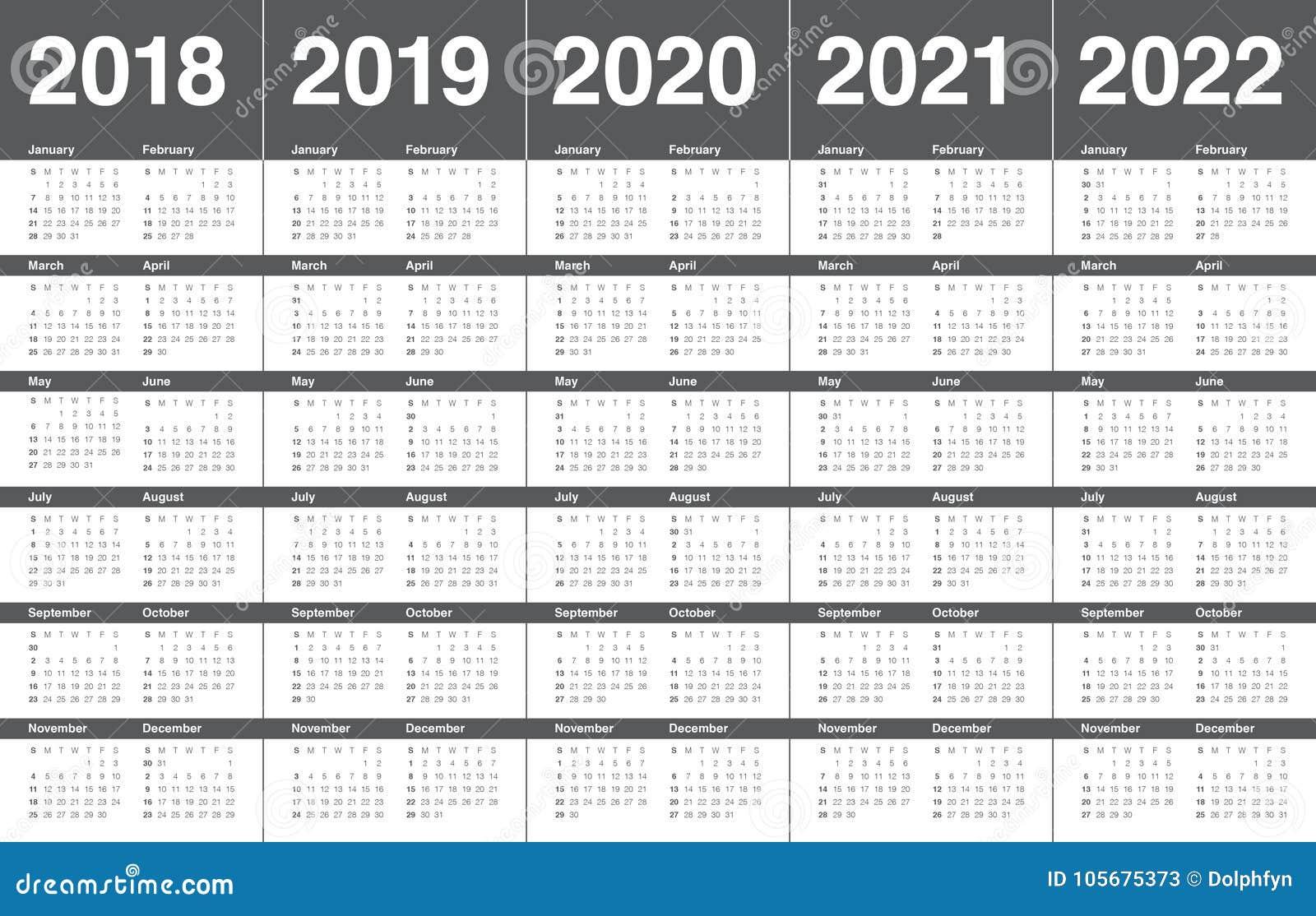 Year 2018 2019 2020 2021 2022 calendar vector
