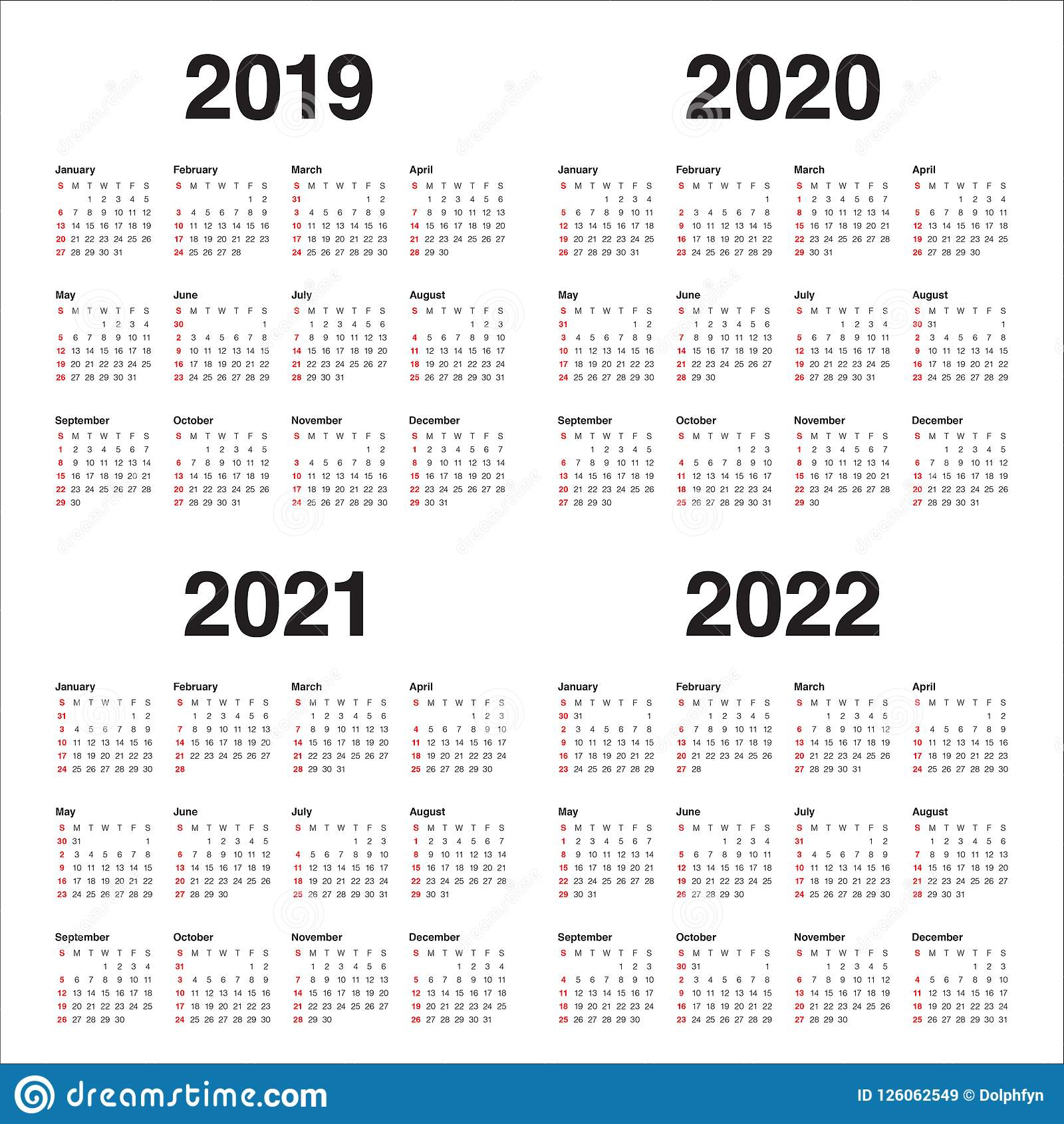 image about 2022 Calendar Printable named Yr 2019 2020 2021 2022 Calendar Vector Layout Template