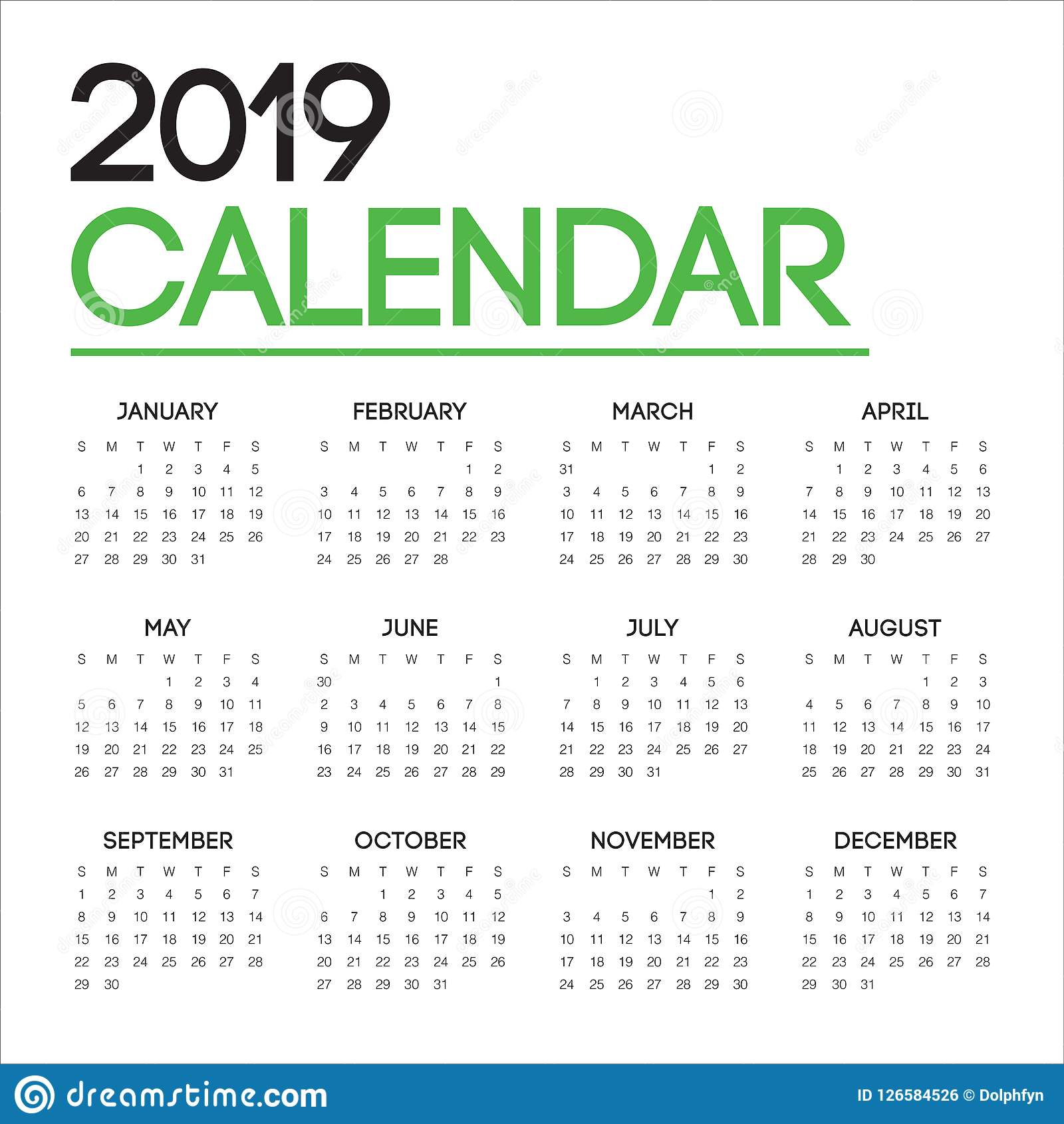 year 2019 calendar vector design template