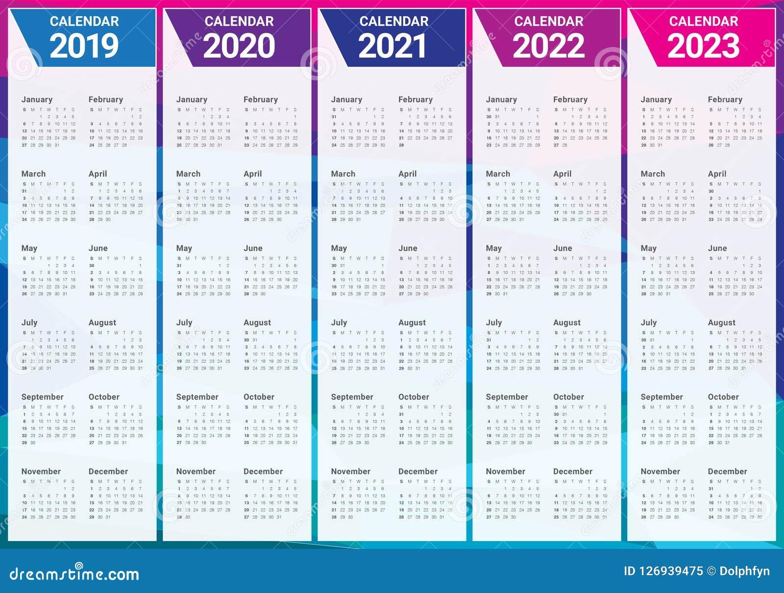 Year 2019 2020 2021 2022 2023 Calendar Vector Design Template