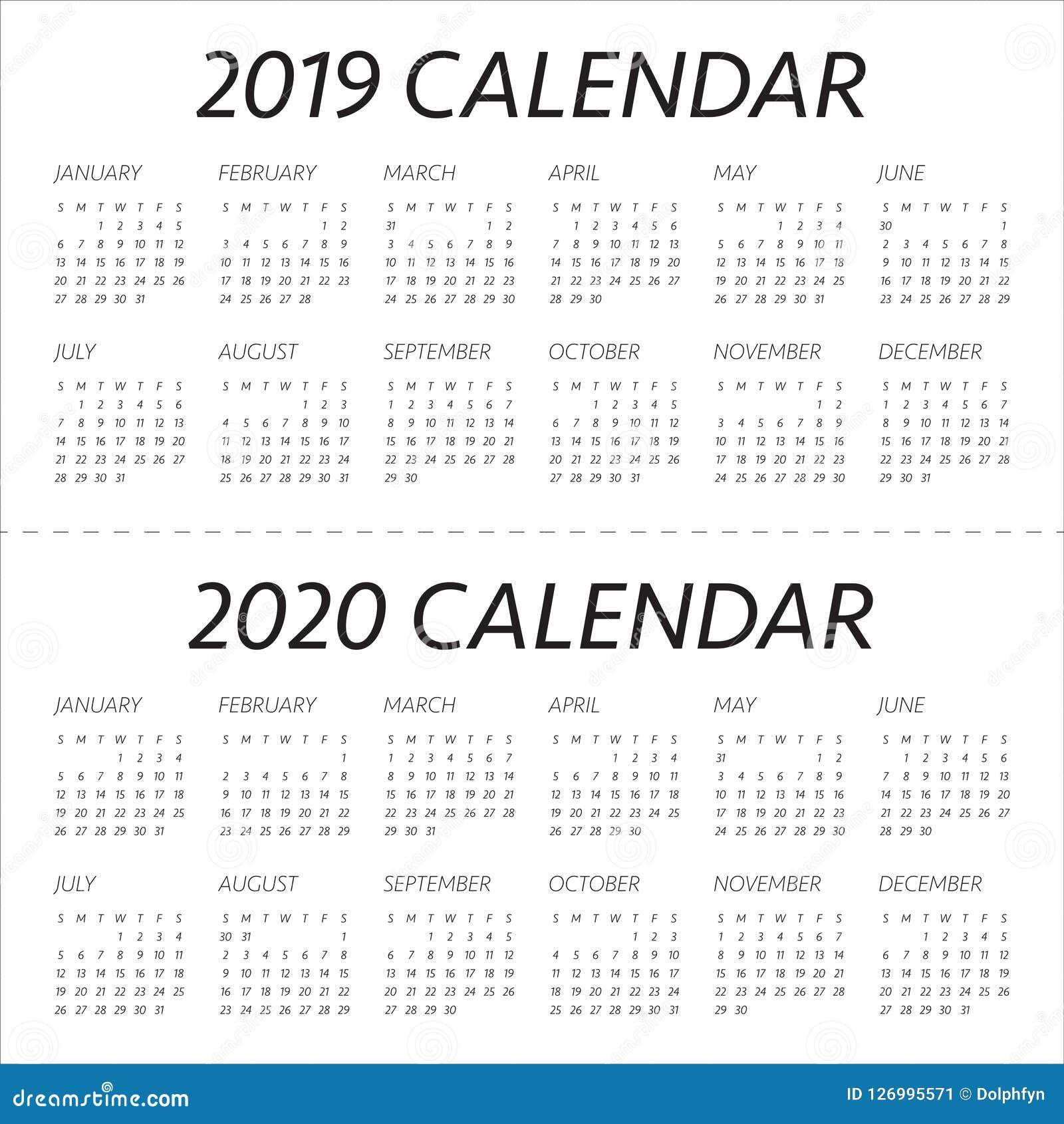 Modern 2019 2020 Mid Year Diary: Year 2019 2020 Calendar Vector Design Template Stock