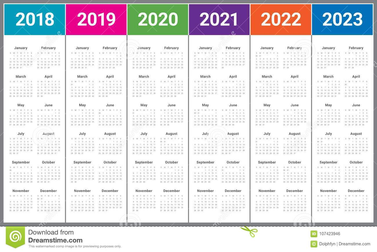 Year 2018 2019 2020 2021 2022 2023 Calendar Vector Stock ...