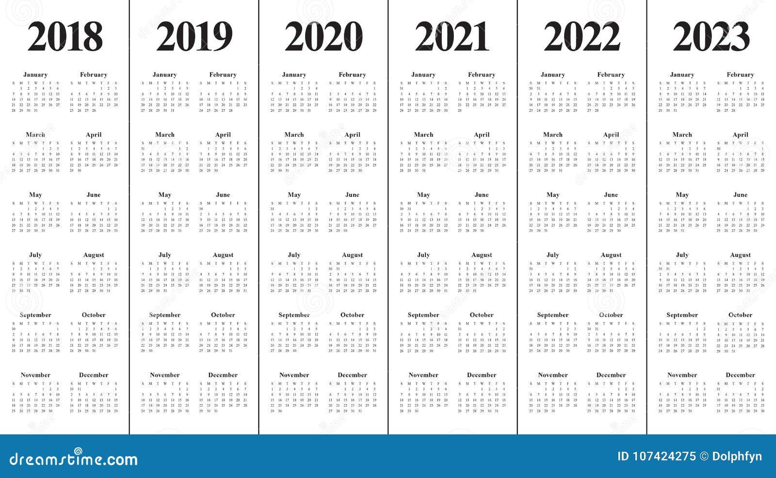 Year 2018 2019 2020 2021 2022 2023 calendar vector