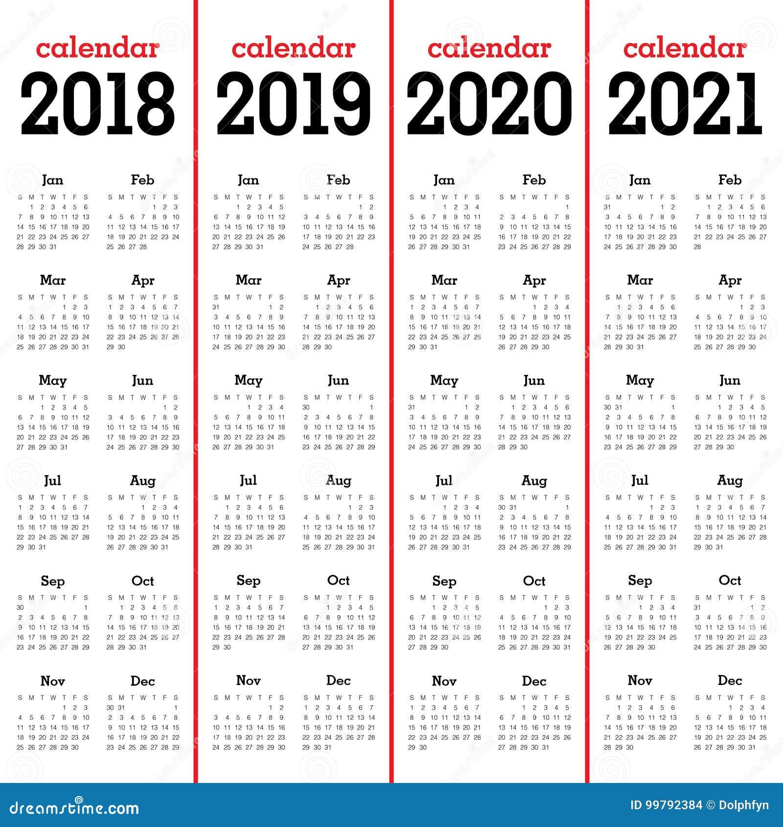year 2018 2019 2020 2021 calendar vector