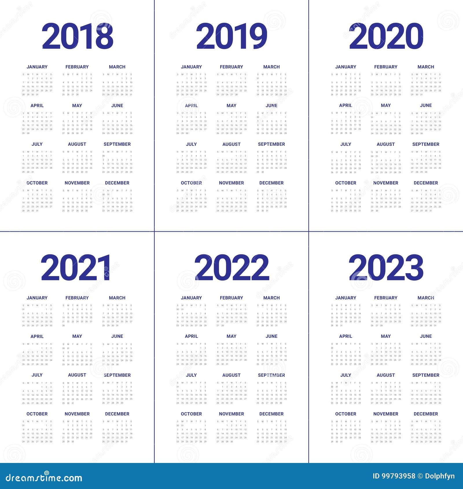 Calendar 2018-2021 Royalty-Free Stock Image ...