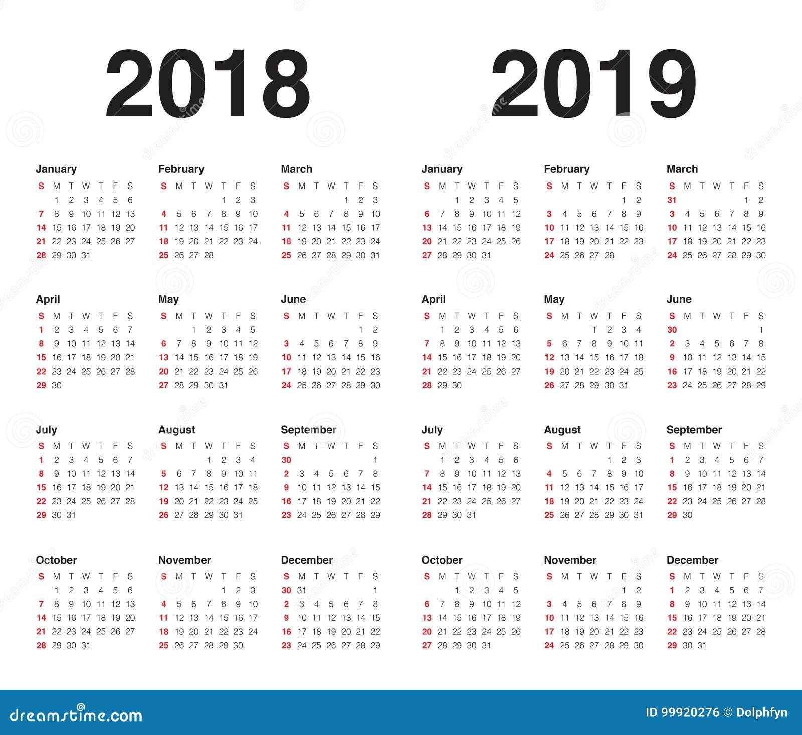 Year 2018 2019 Calendar Vector Stock Vector