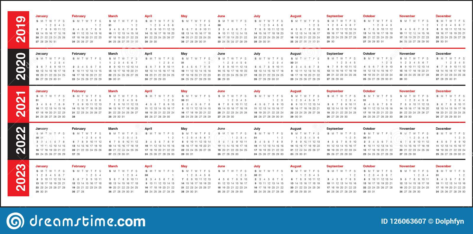 year 2019 2020 2021 2022 2023 calendar vector design template