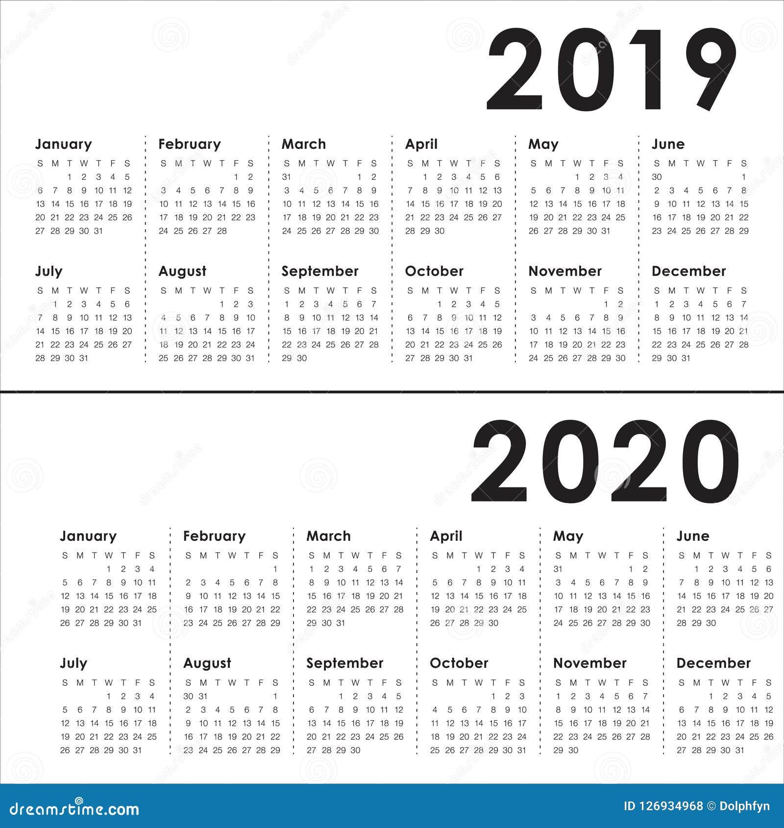 Year 2019 2020 Calendar Vector Design Template Stock