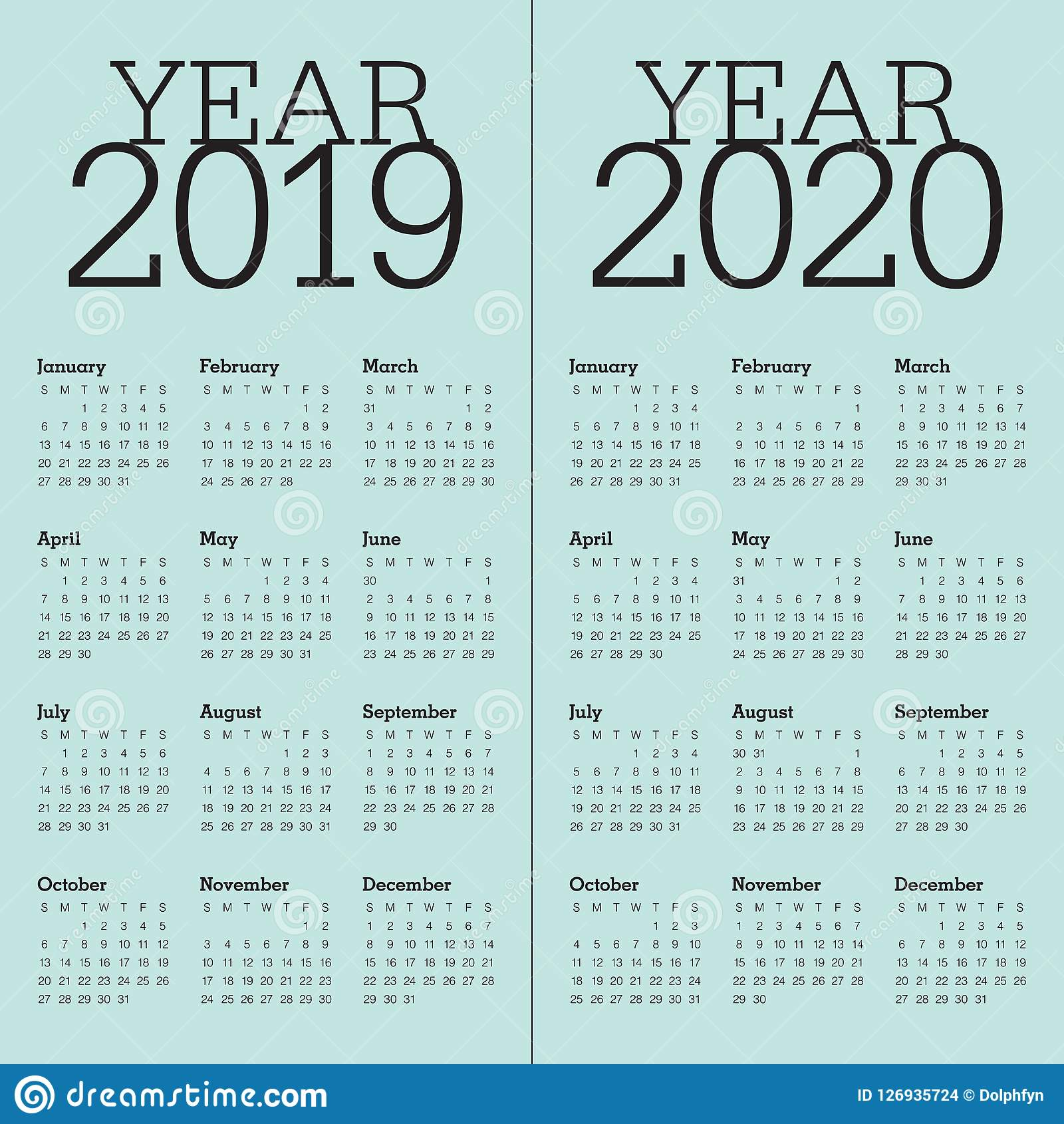 Calendario Contest Hf 2020.Year 2019 2020 Calendar Vector Design Template Stock Vector