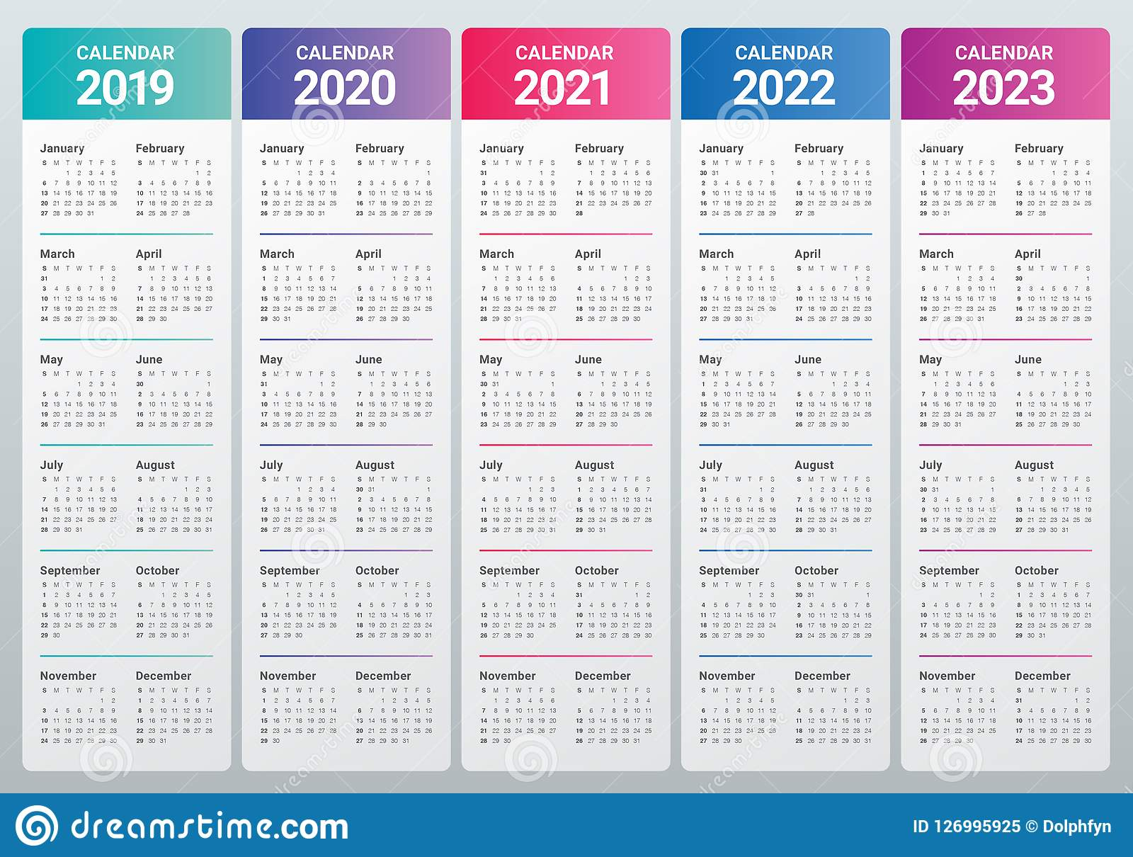 Calendar Template 2022 2023.Year 2019 2020 2021 2022 2023 Calendar Vector Design Template Stock Vector Illustration Of Calendar Date 126995925