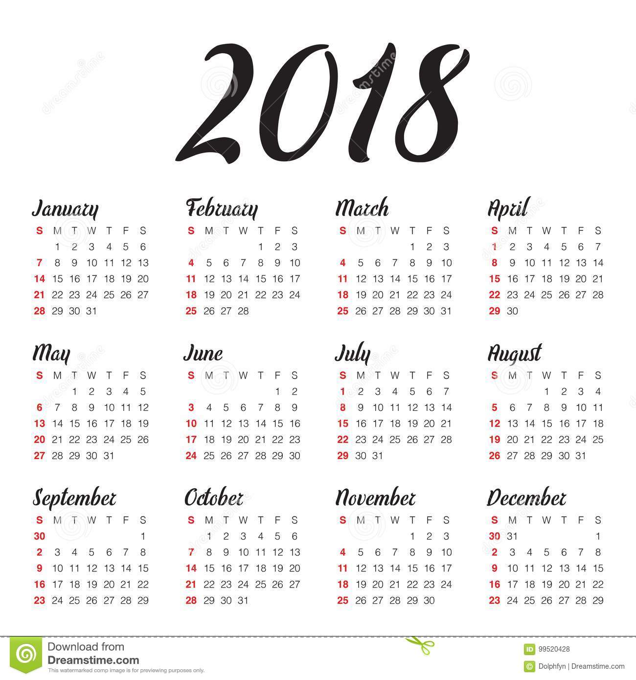 year 2018 calendar vector design template simple and clean design