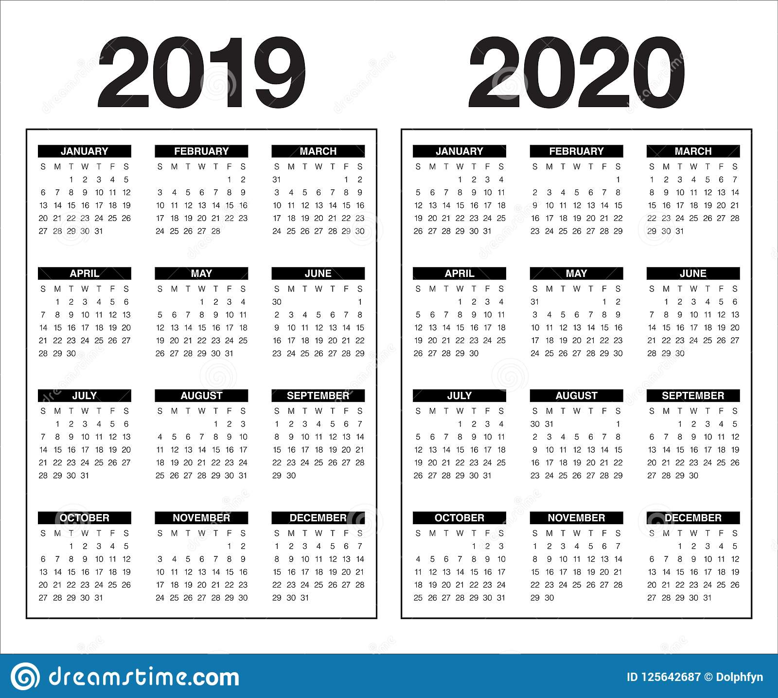 2020 Year Calendar Template Year 2019 2020 Calendar Vector Design Template Stock Vector