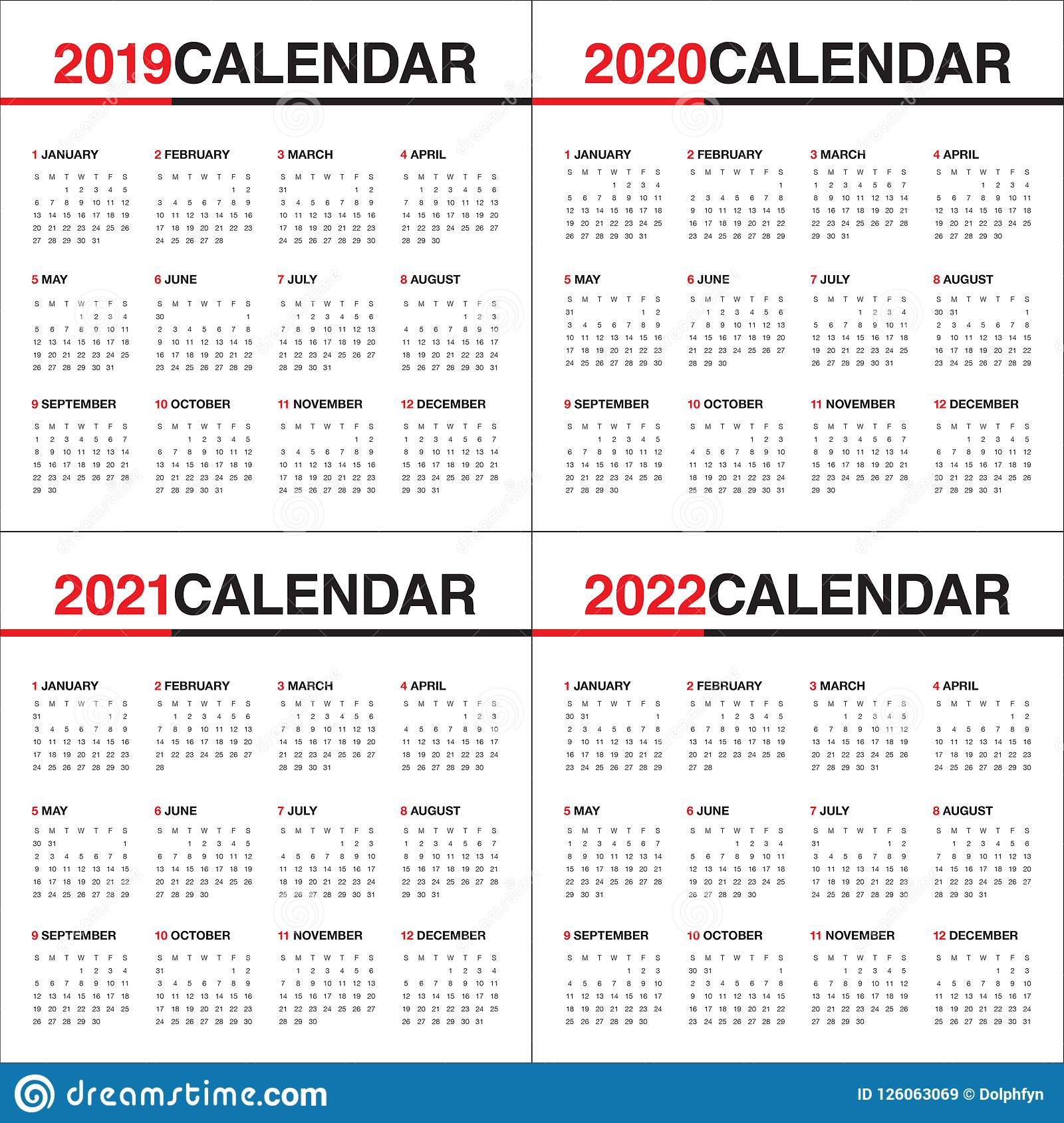 graphic about 2022 Calendar Printable named Yr 2019 2020 2021 2022 Calendar Vector Design and style Template