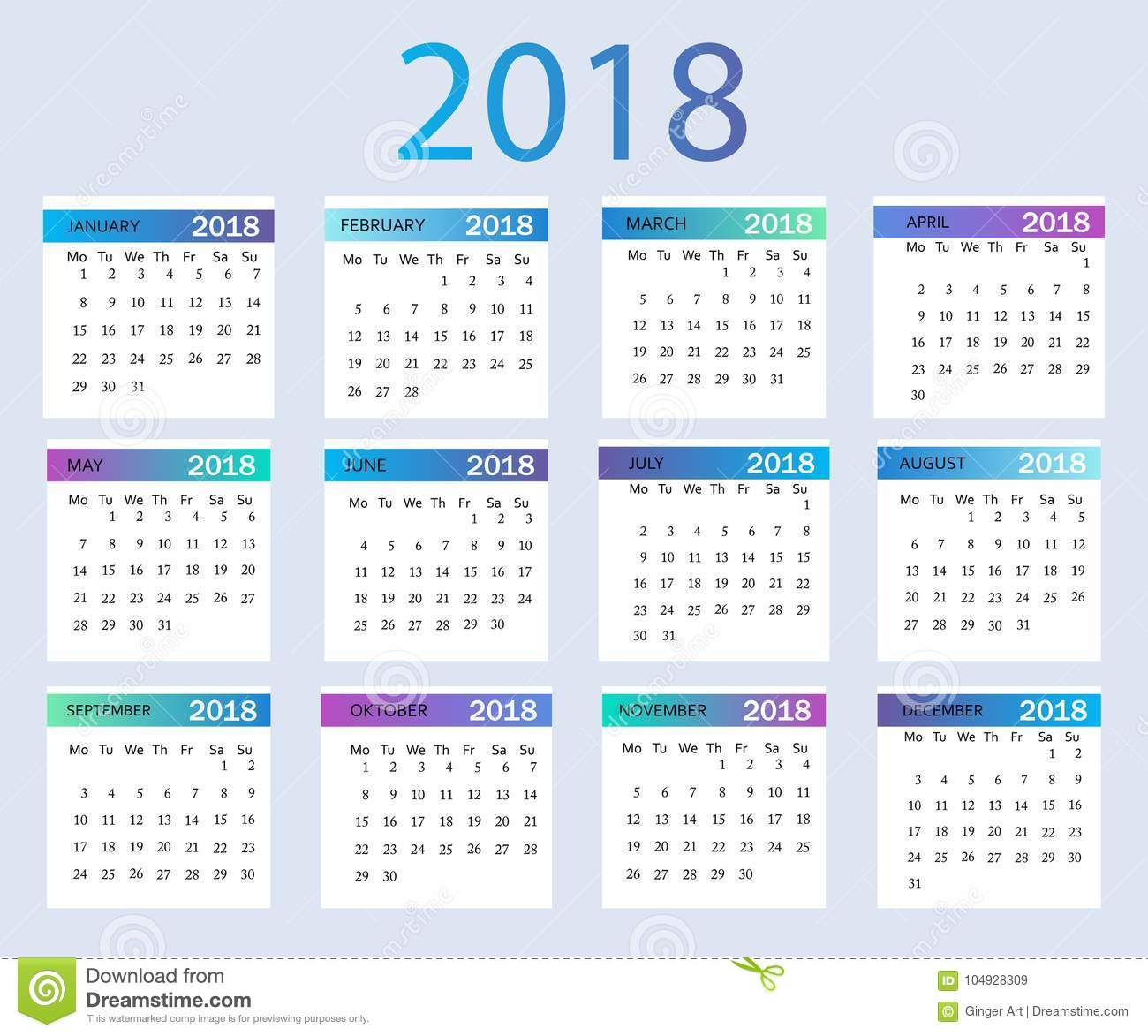 Year Calendar Graphic : Year calendar vector template graphic line simple