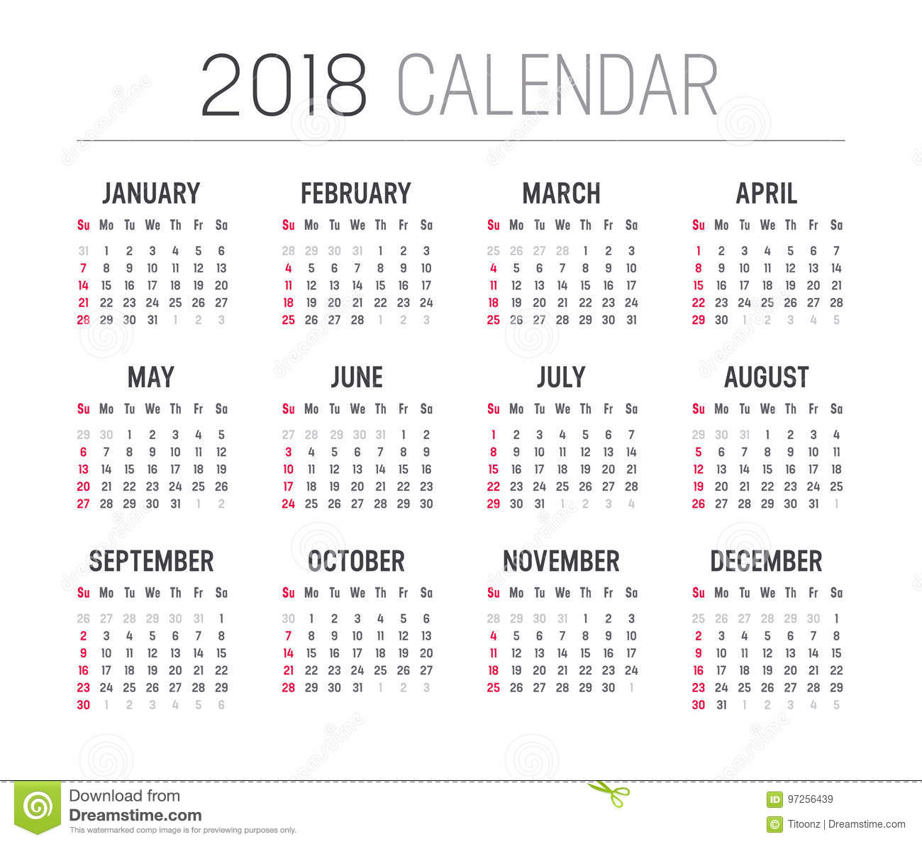 Year 2018 Calendar Vector Template Stock Vector Illustration Of