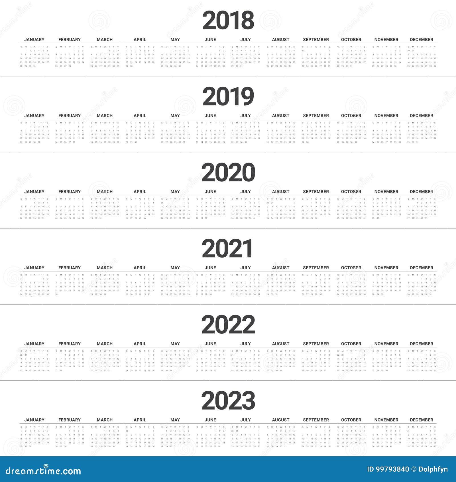 Year 2018 2019 2020 2021 2022 2023 Calendar Vector Stock ...