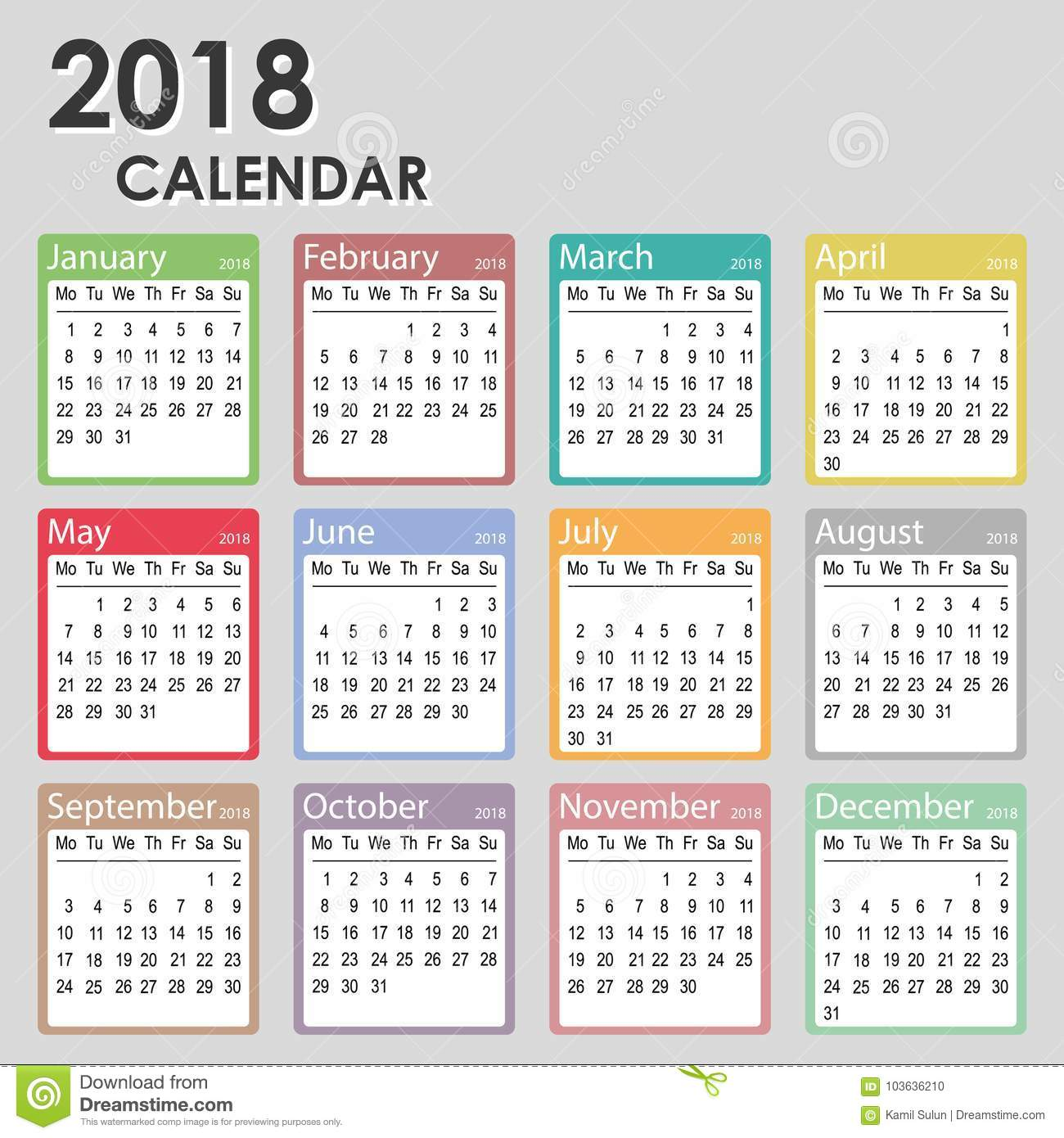 2018 Year Calendar Week Starts On Monday Monthly Template Printable