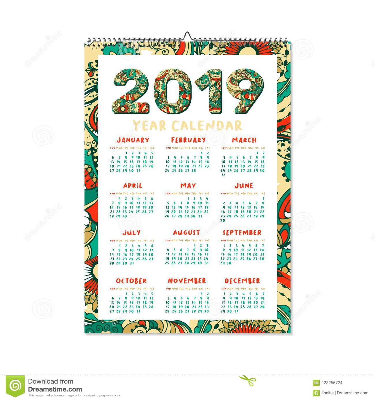 2019 year calendar xmas or happy new year holiday design
