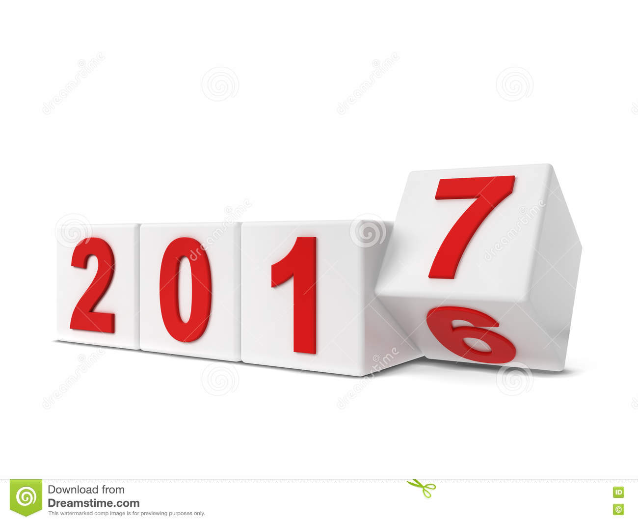 2017 year changing. 3d illustration isolated on white background