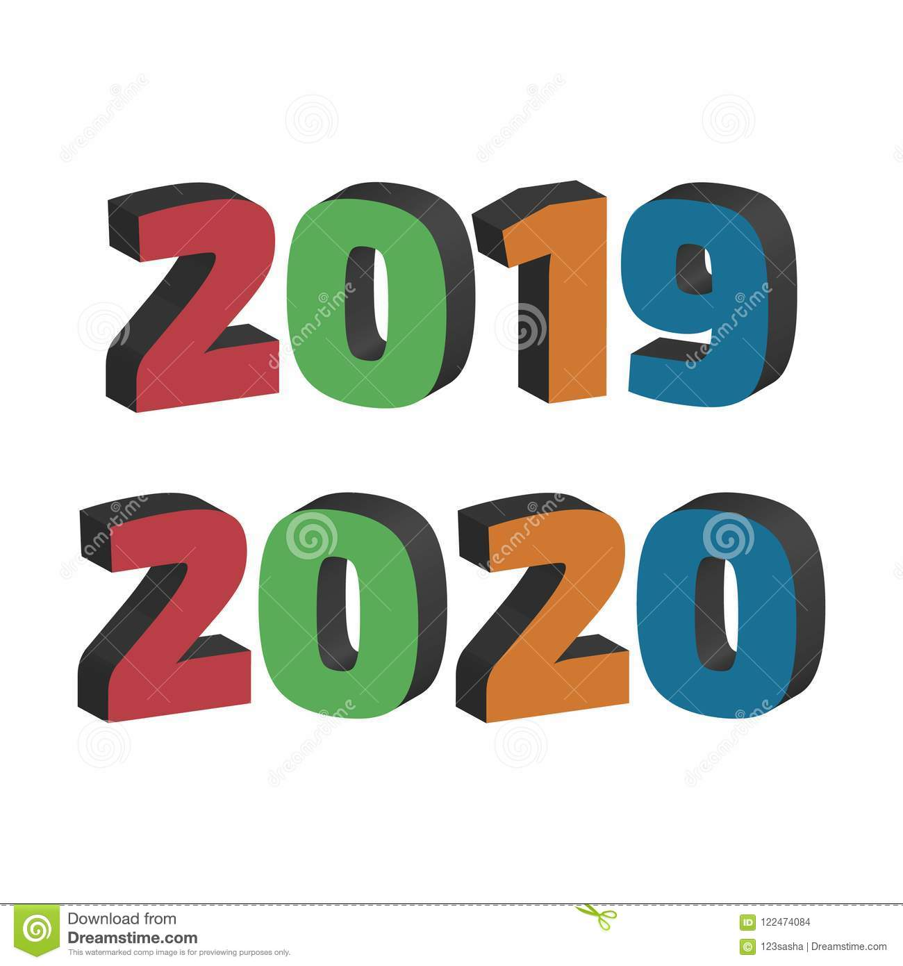 2019 And 2020 Year Signs Stock Vector. Illustration Of