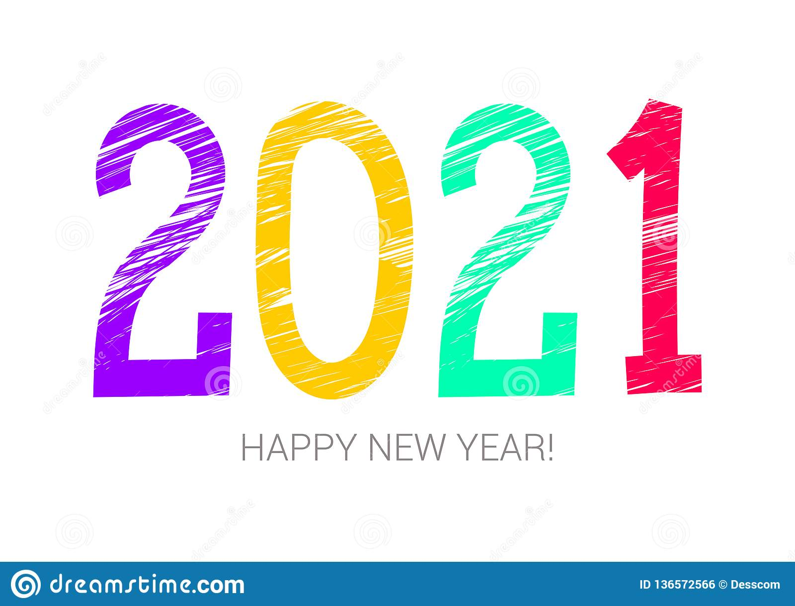 2021 Year Colorful Symbol. Happy New Year. Banner, Card ...