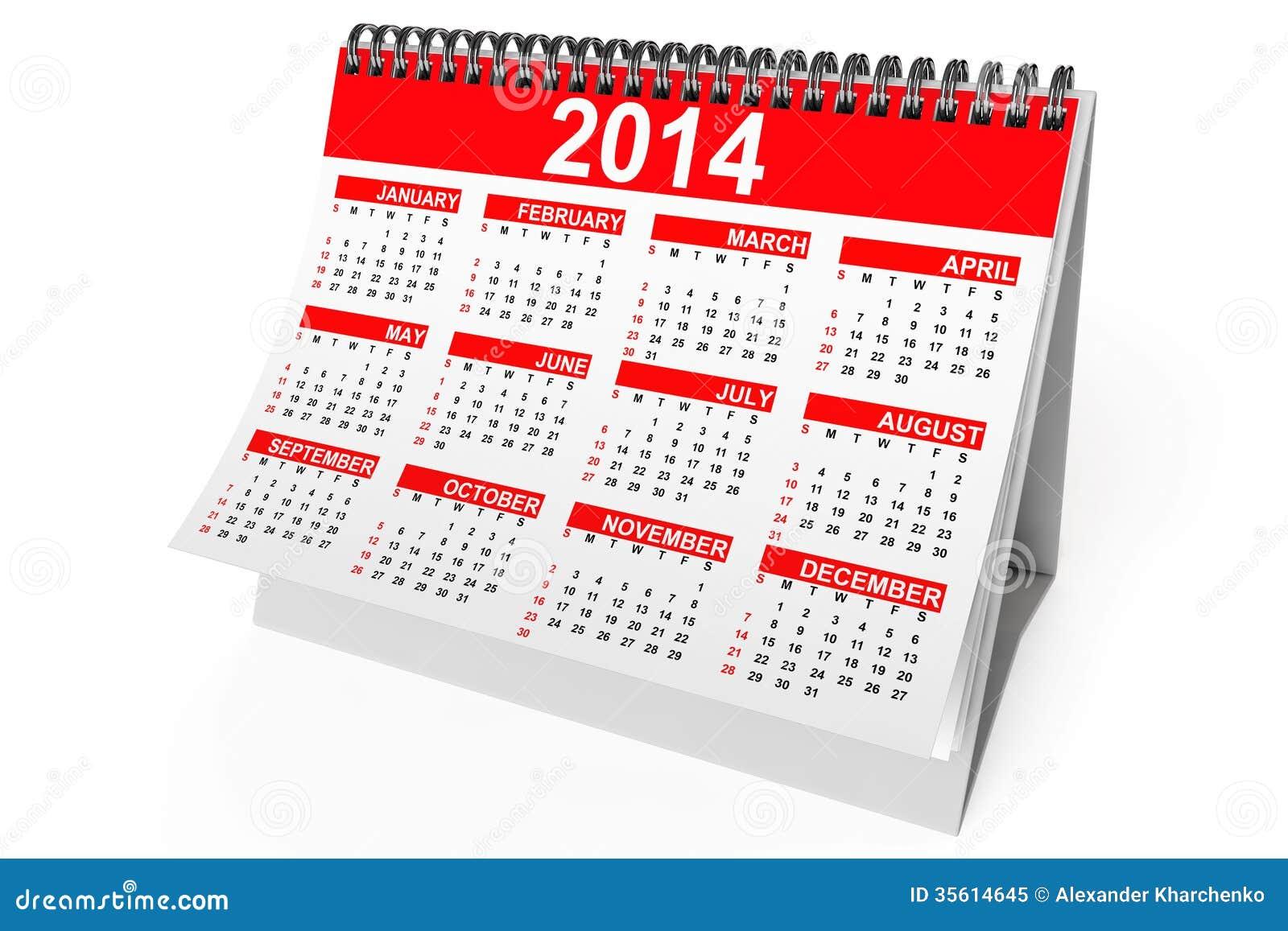 2014 Year Desktop Calendar Royalty Free Stock Photo