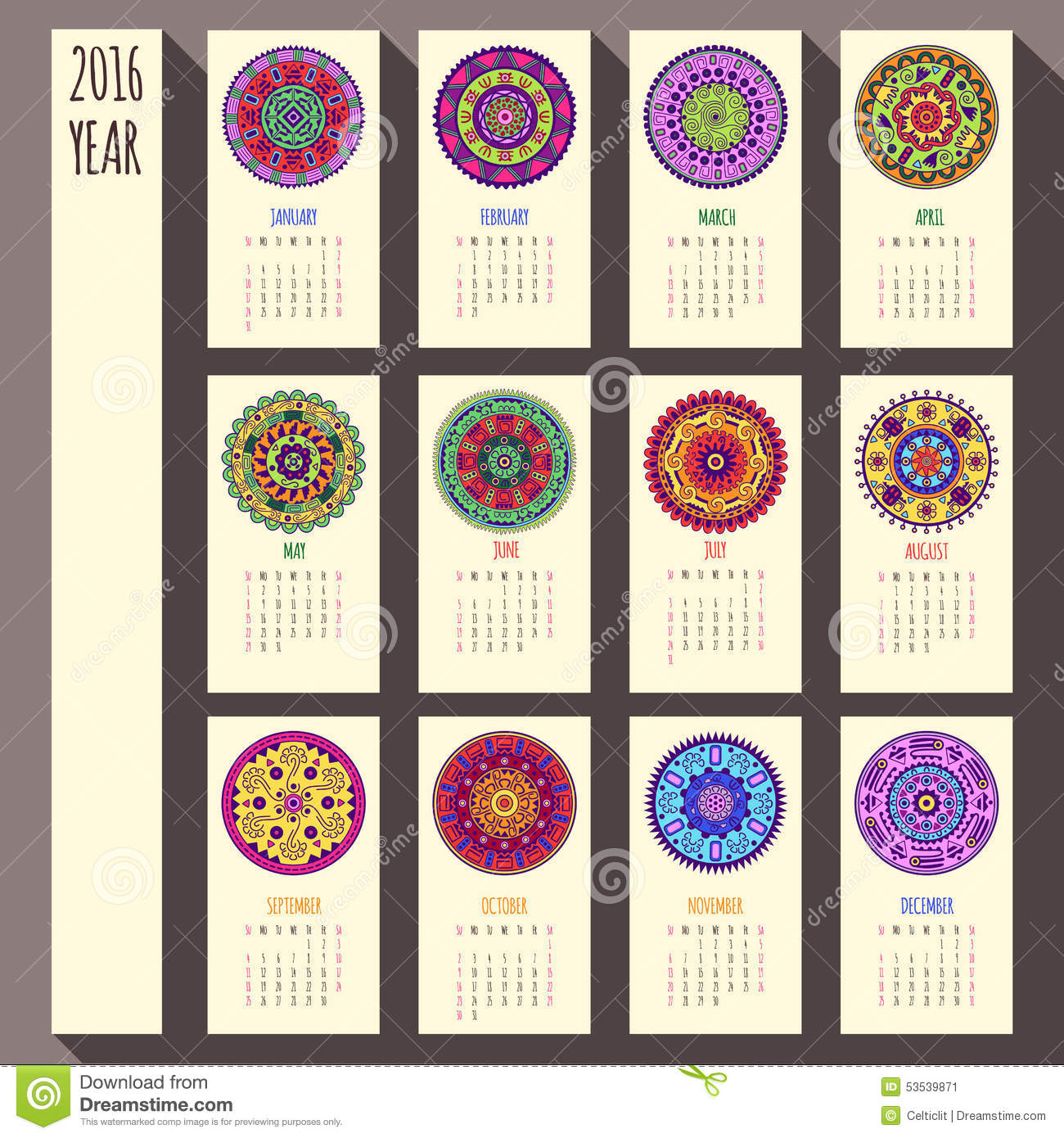 Corporate Calendar Design 2016 : Year ethnic calendar design english sunday stock