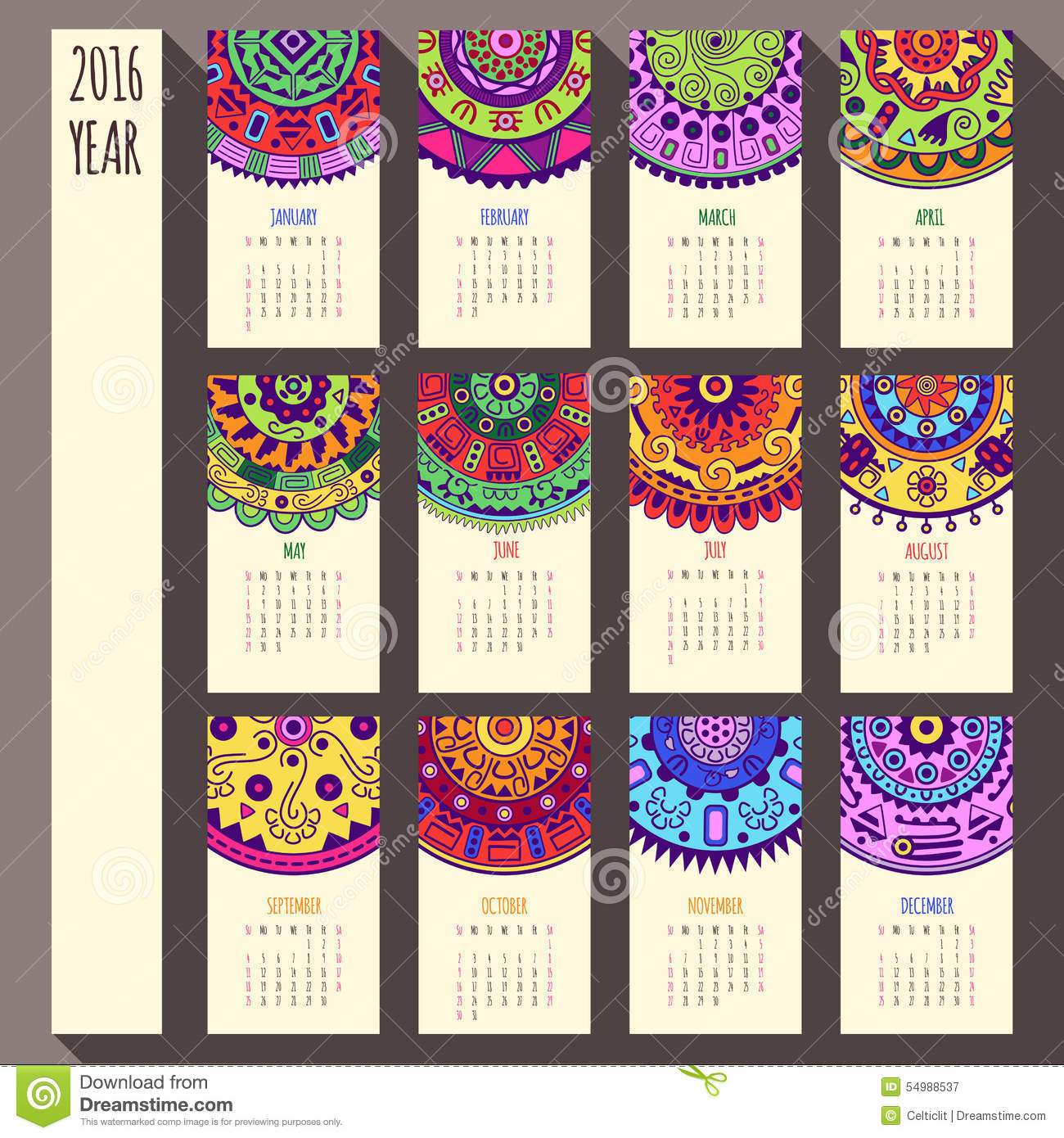 Art Calendar Template : Year ethnic calendar design english sunday stock