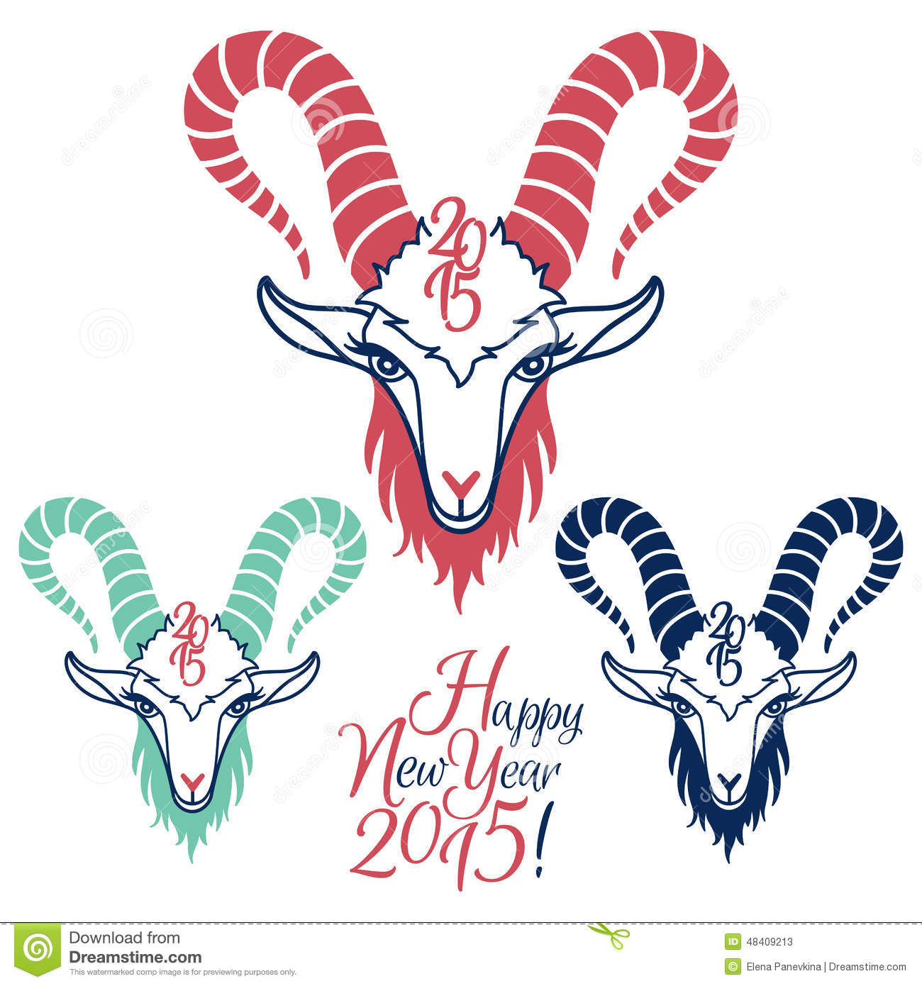 Year Of The Goat 2015 Vector Illustrations Set Stock Vector