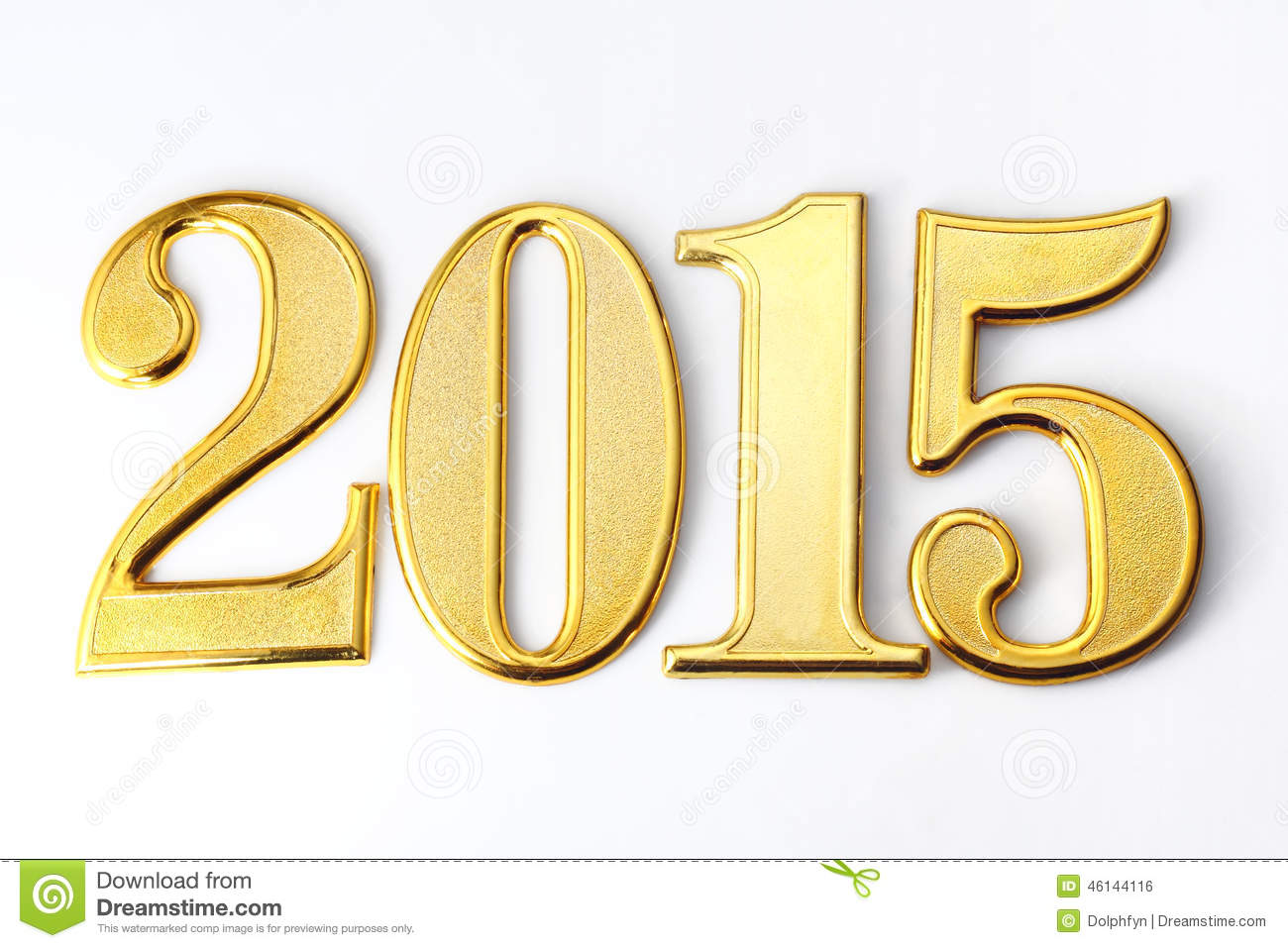 2015 gold numbers text on white background.