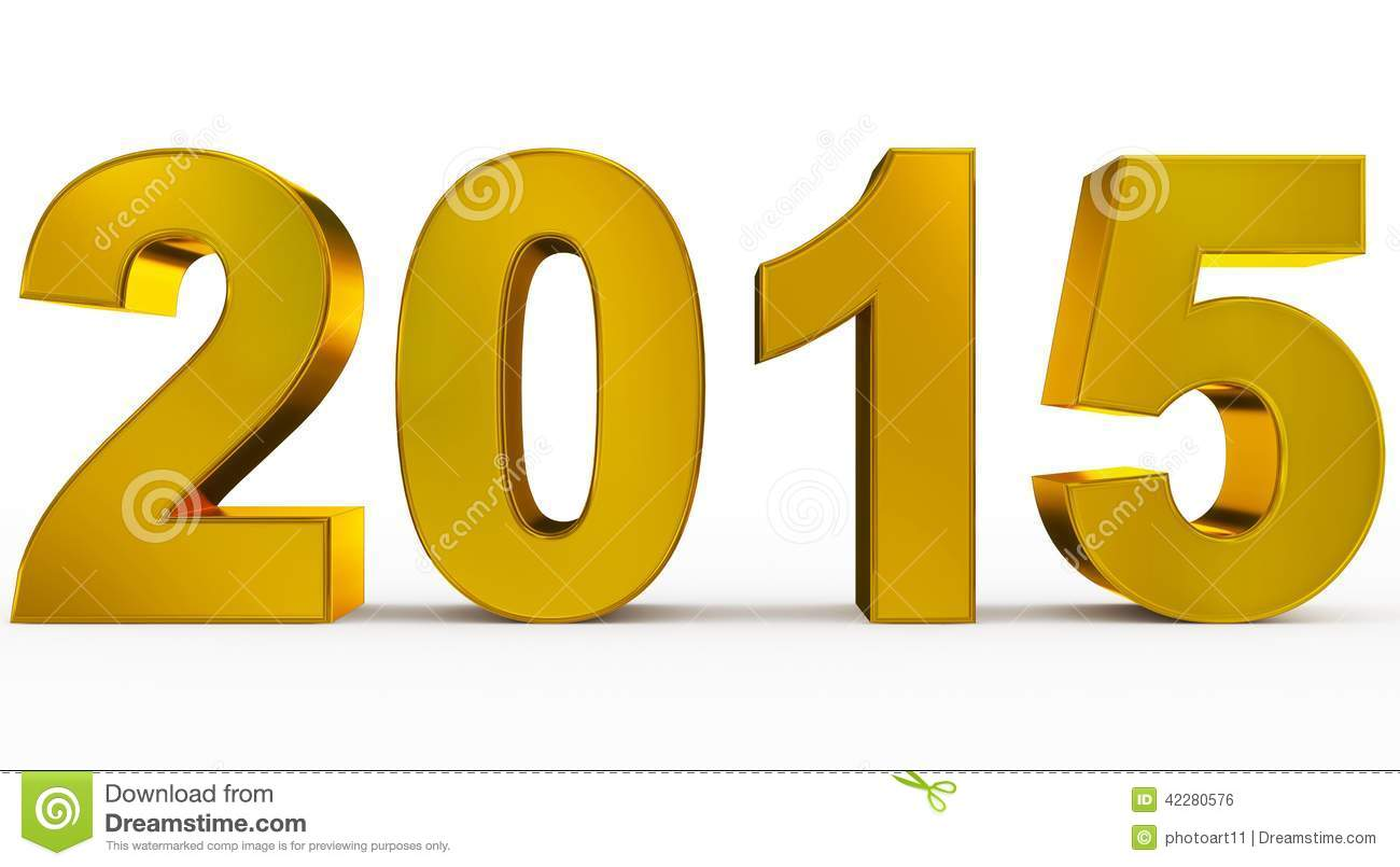 Year 2015 stock illustration. Image of metal, golden ...