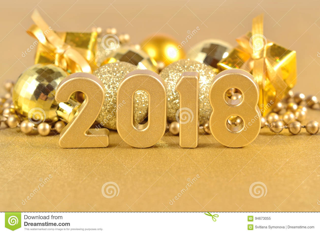2018 year golden figures and christmas decorations stock for Decoration 2018