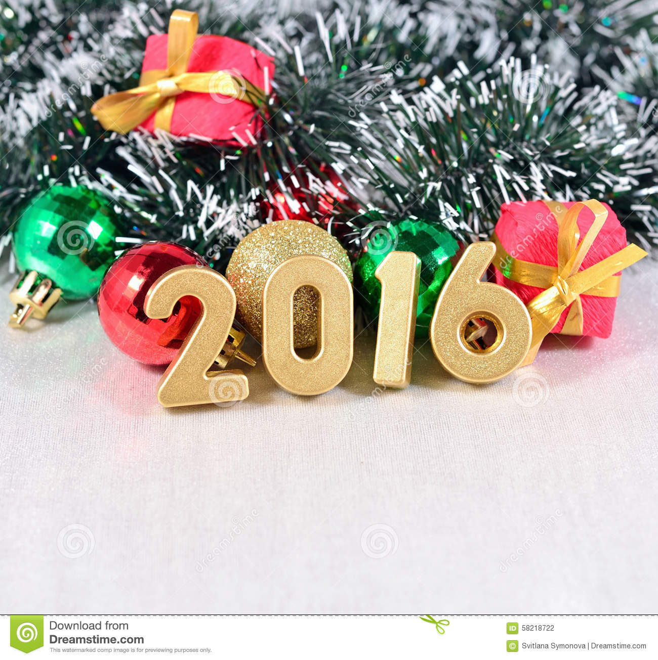 2016 year golden figures and christmas decorations stock for Xmas decoration ideas 2016